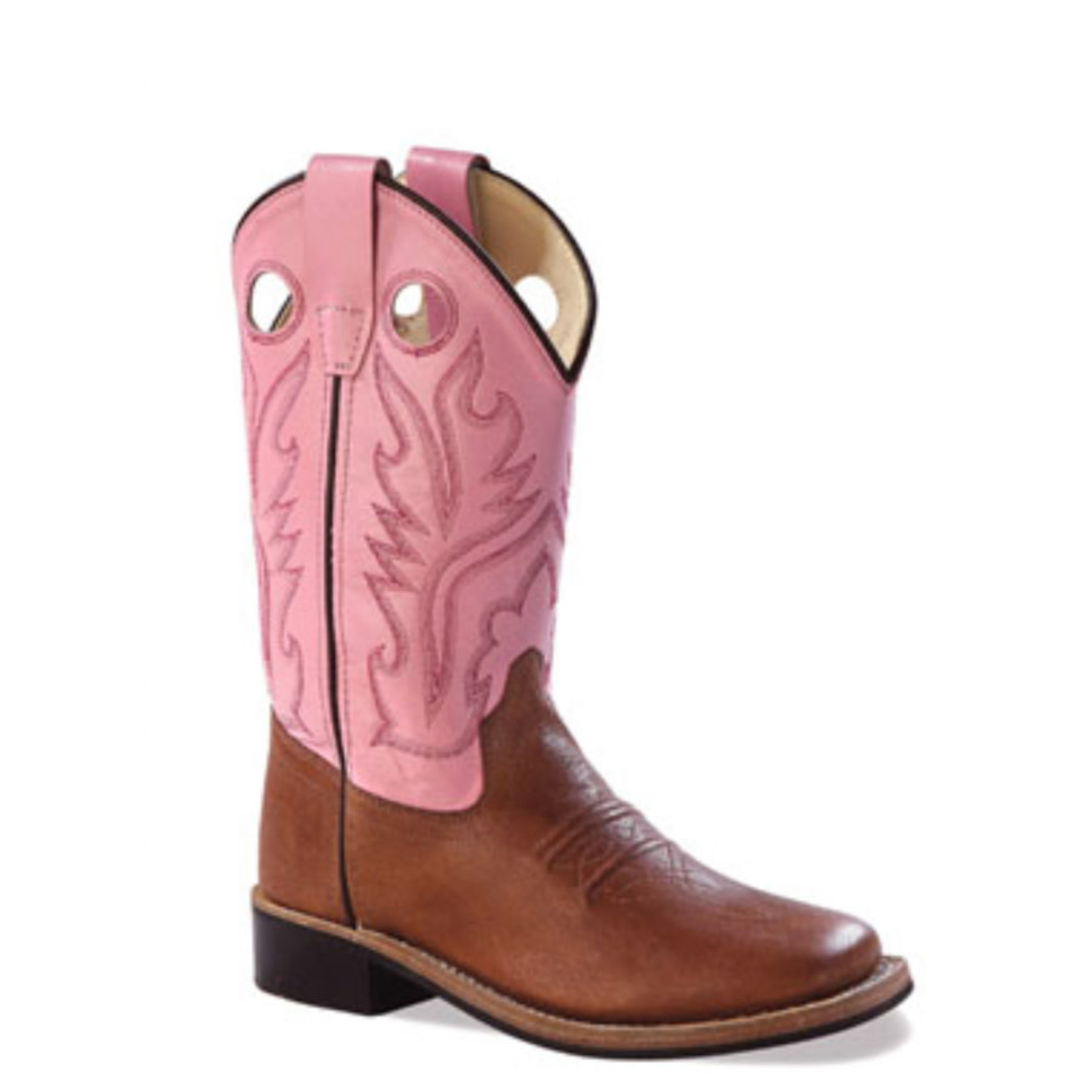 Old west Old West Children/Youth Pink and Brown Square Toe Western Boot BSC1839