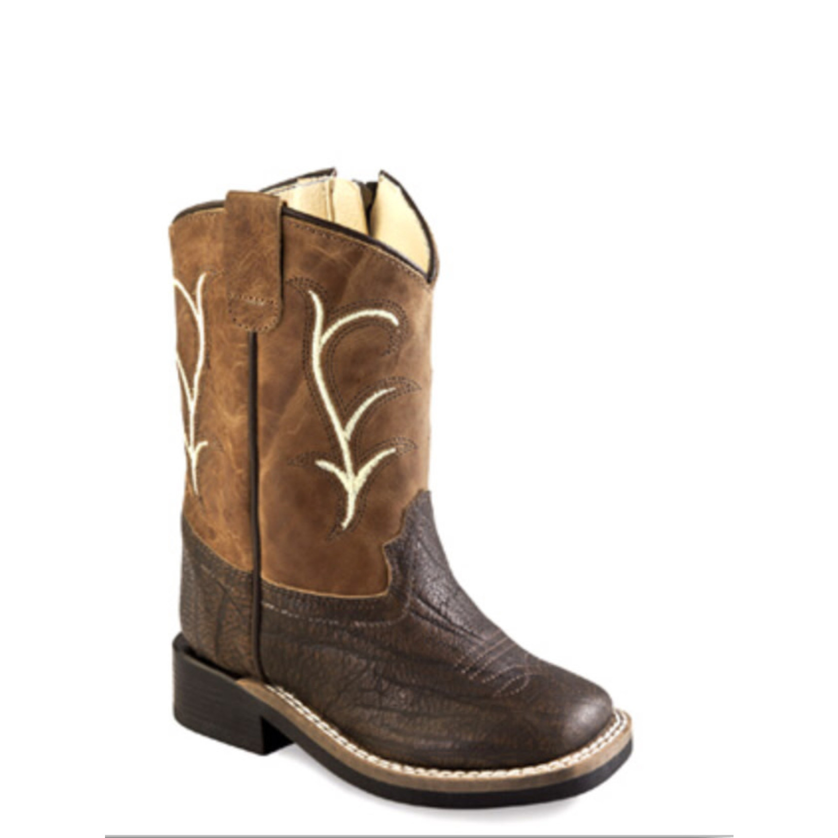 Old west Old West Children Brown Square Toe with Zipper BSI1819