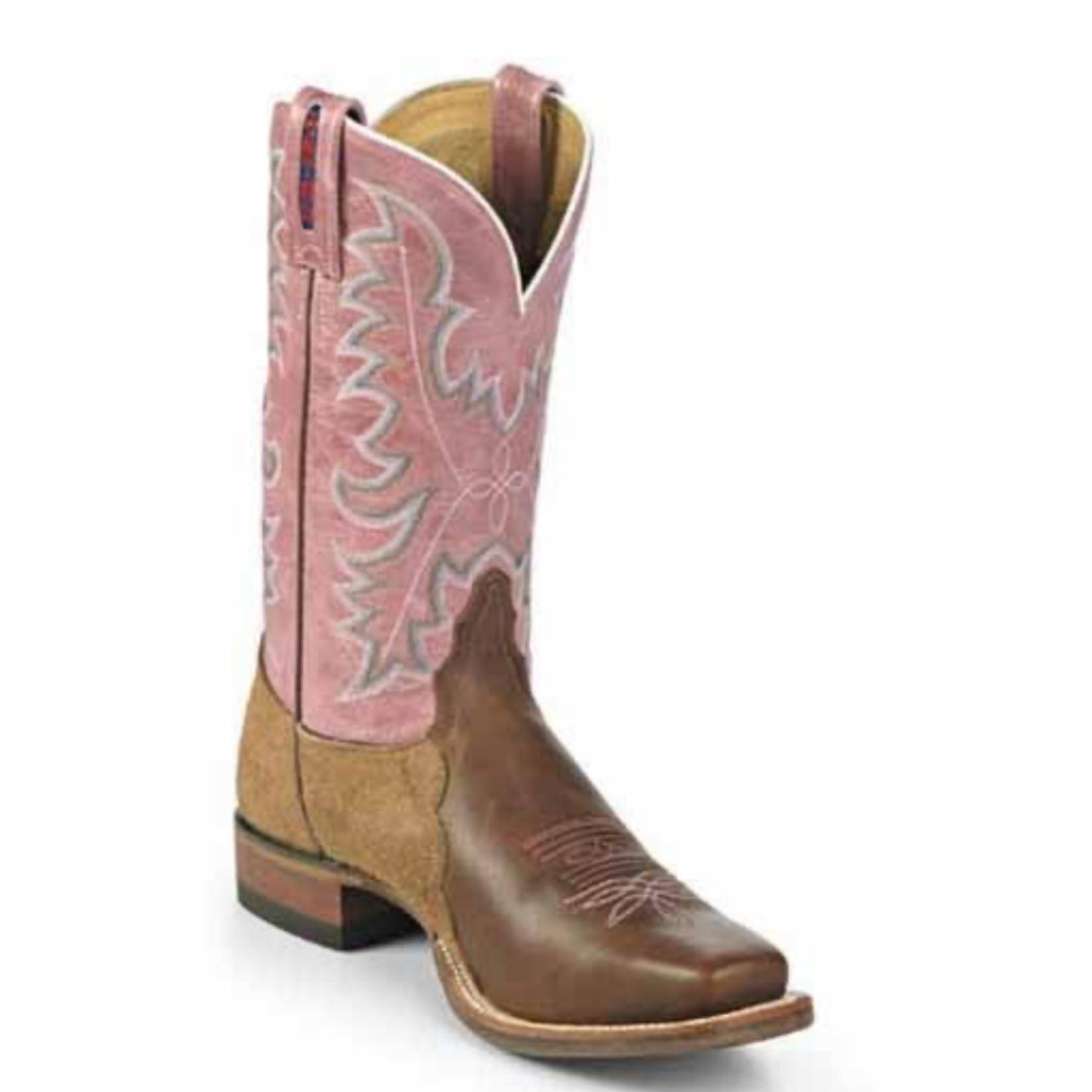 Tony Lama Tony Lama Women's Pink & Brown Square Toe B 1079-L
