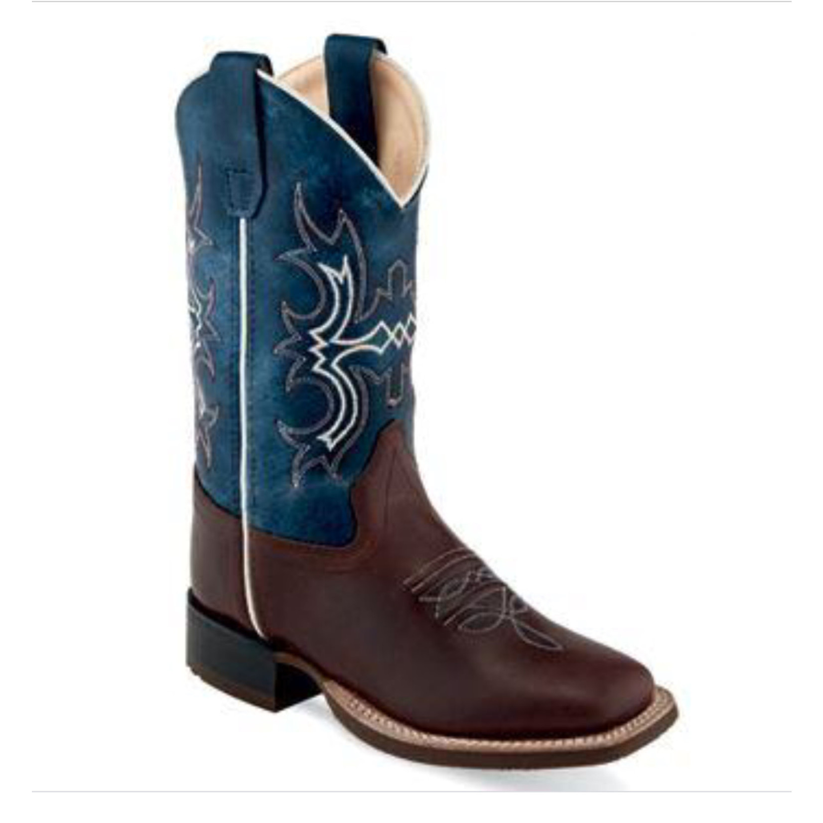 Old west Old West Youth Chocolate & Blue Square Toe Cowboy Boot BSY1914