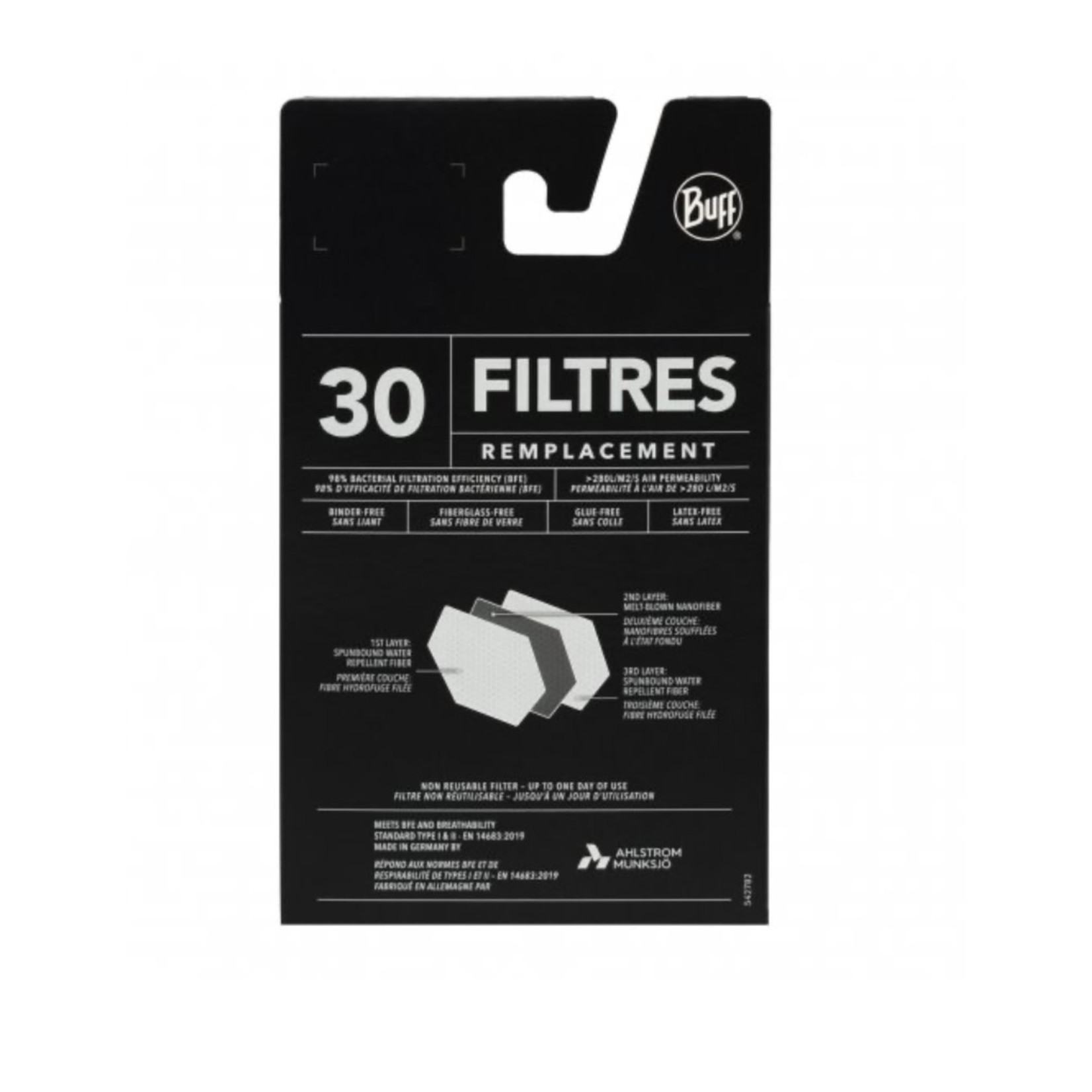 Buff Buff Face Mask Replacement Filters Adult 30 Pack 126658