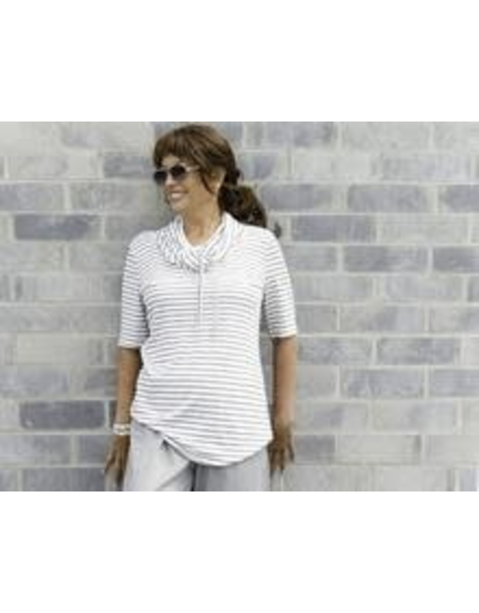 Pure Essence Cowl Neck Striped Top