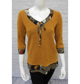 Bali Mustard Top with Trim Detail