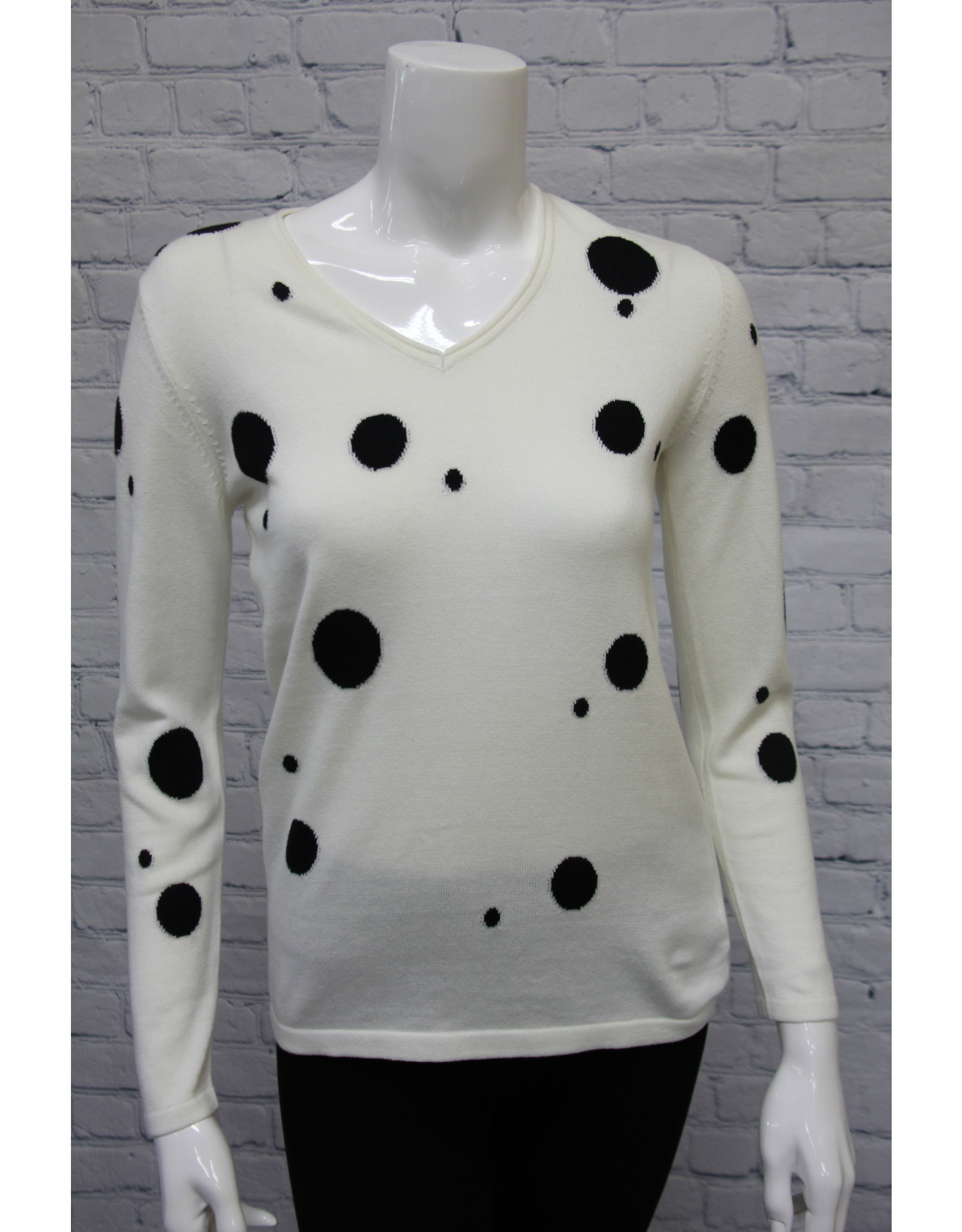 Marble V-Neck Sweater Polka Dot