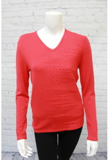 Marble V-Neck Sweater Sequins Red
