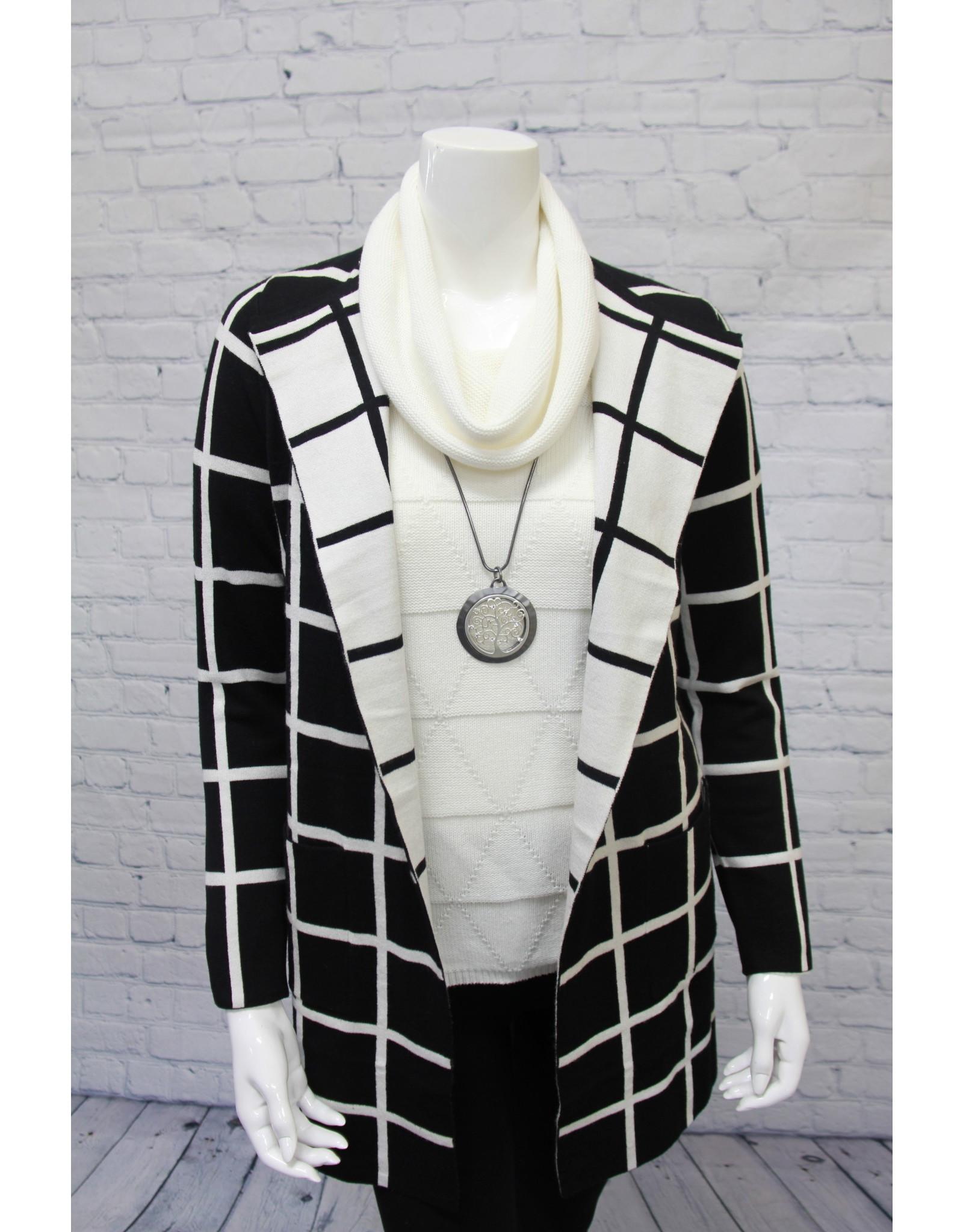 Elena Wang Black & White Cardigan