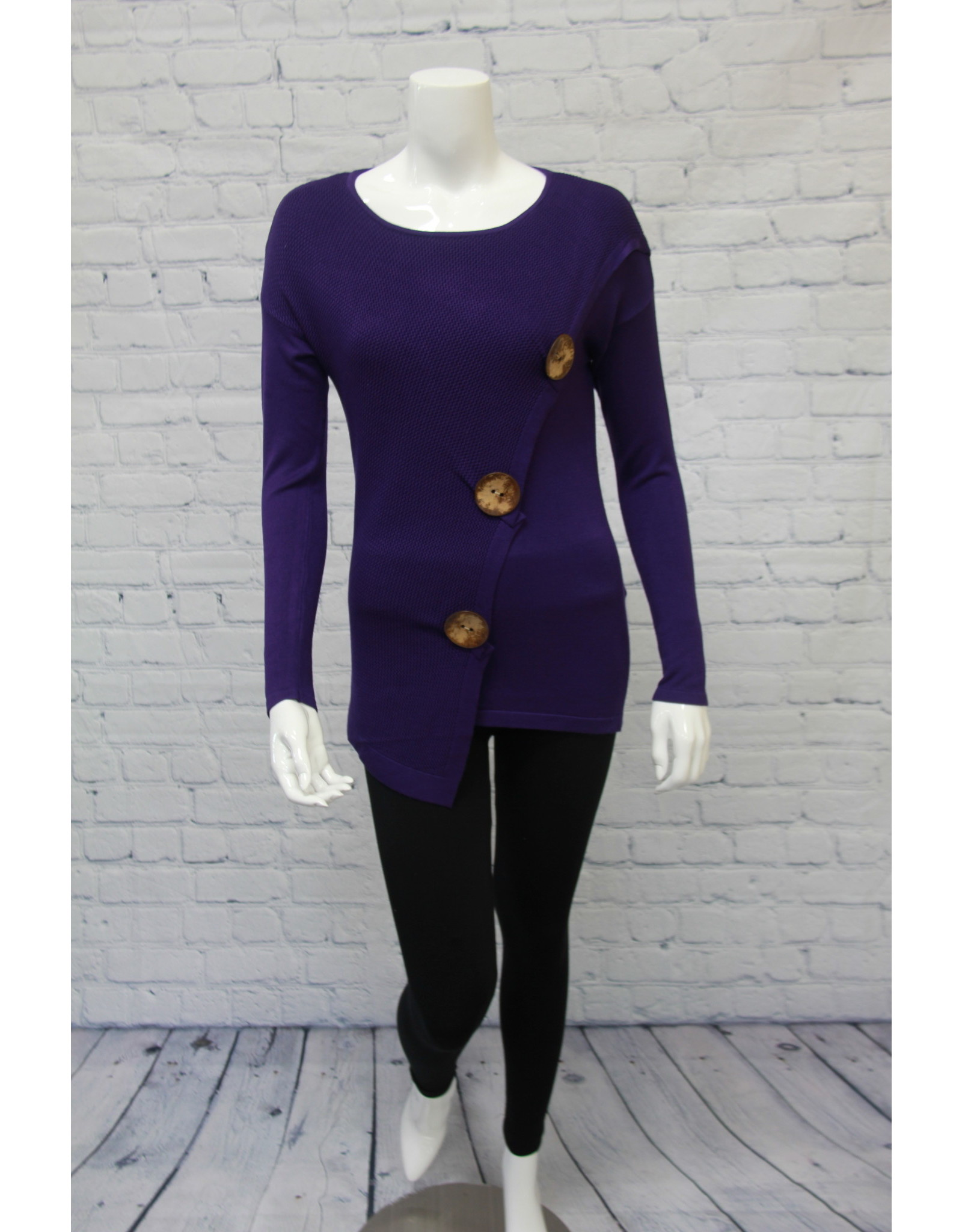 Marble Big Button Sweater