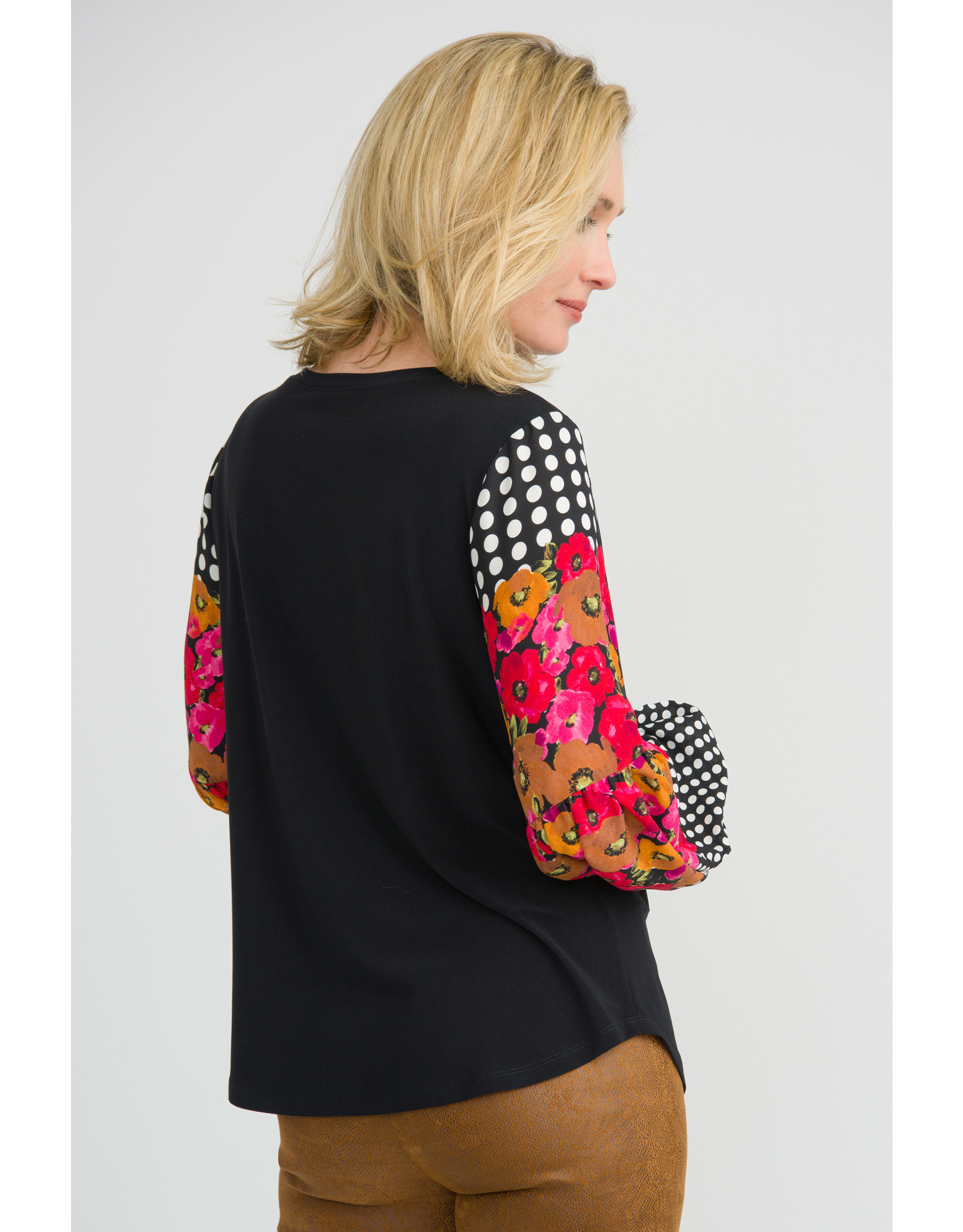 Joseph Ribkoff Black Top With Floral Sleeves