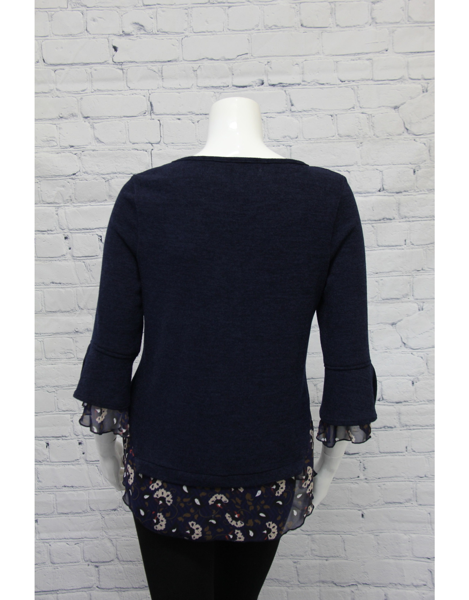 Bali Navy Top with Floral Trim