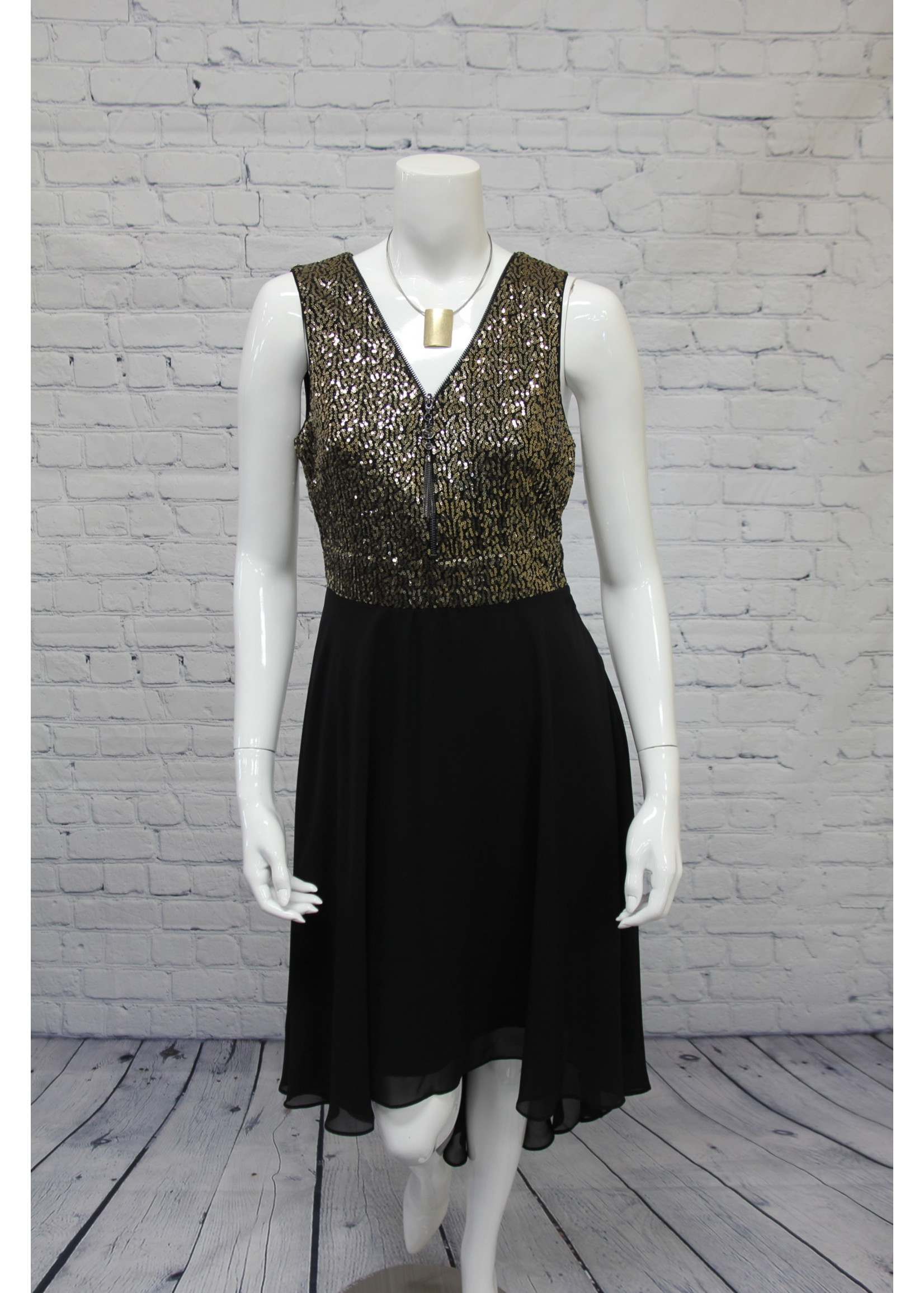 Frank Lyman Gold/Black Woven Dress