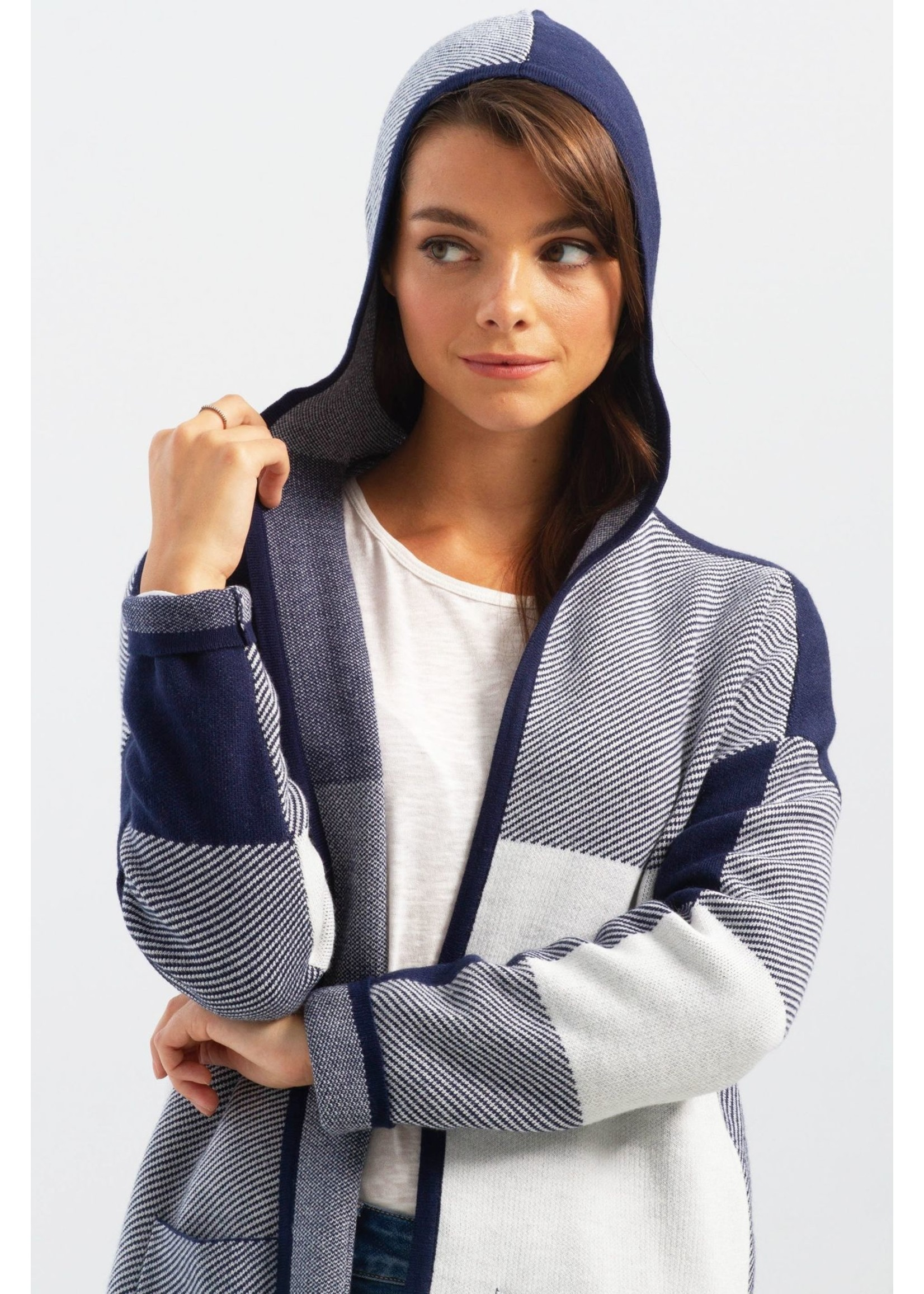 Charlie B Color Block Cardigan With Hood