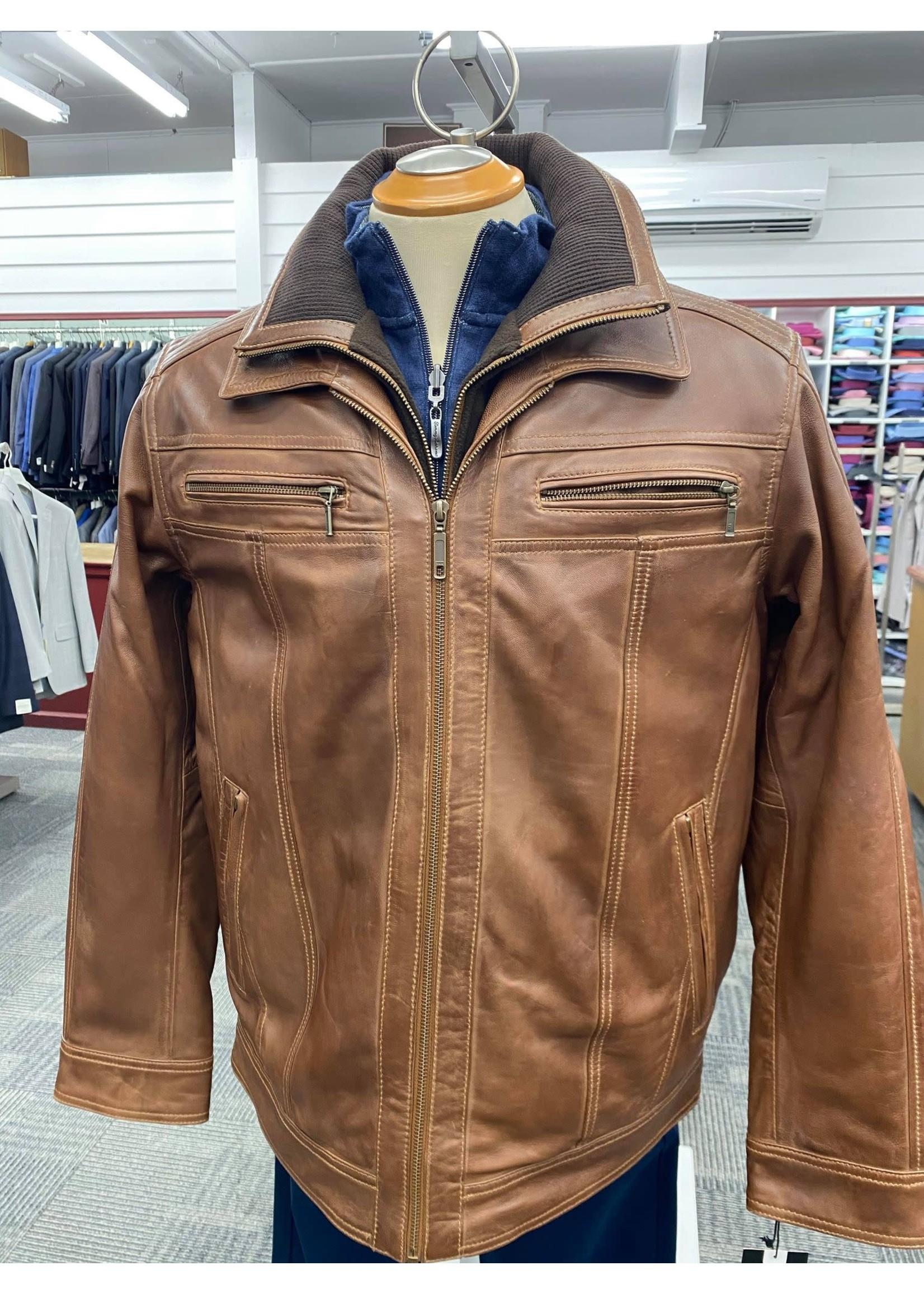 Plonge Men's Whiskey Coloured Leather Jacket