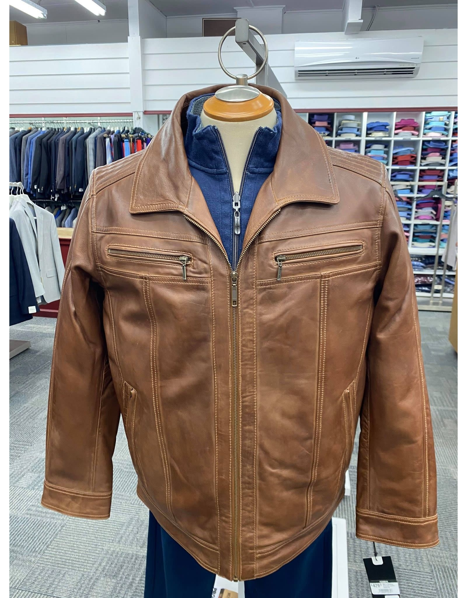 Plonge Men's Whiskey Coloured Leather Jacket