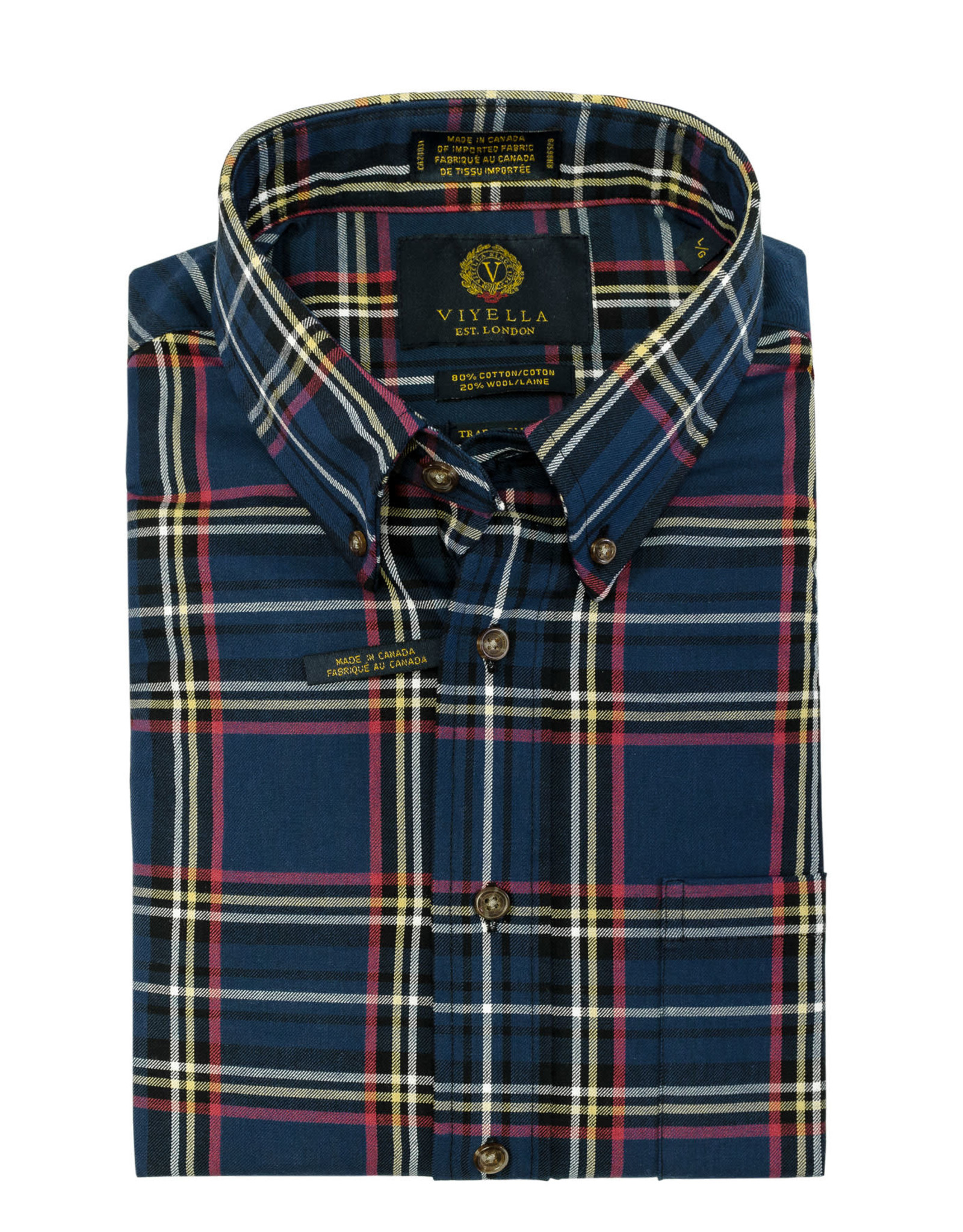 Viyella Blue Plaid Shirt 20% Wool