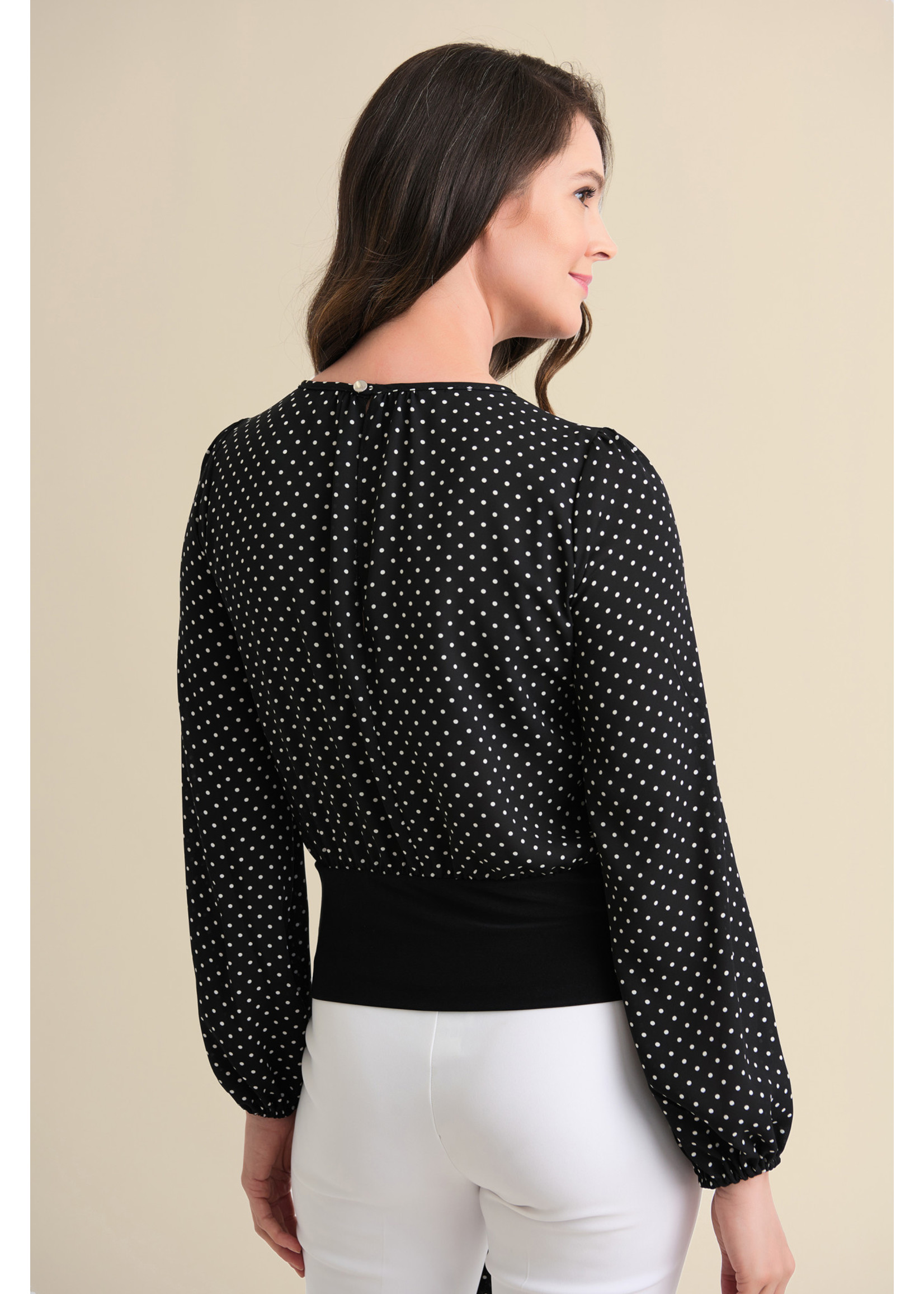 Joseph Ribkoff Polka Dot Belted Top