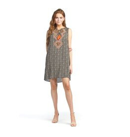 Papillon Geo Print Dress With Embroidery