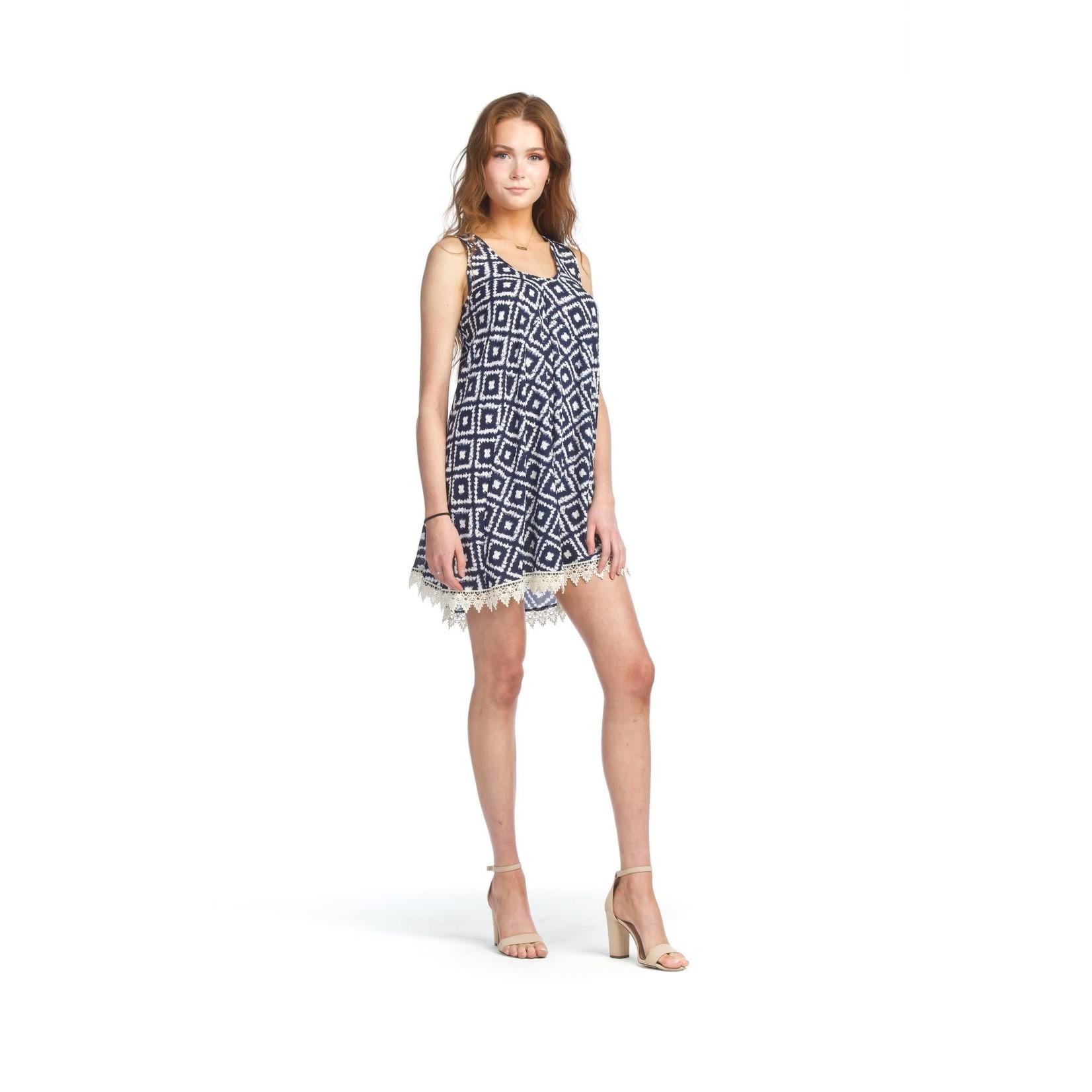 Papillon Geo Print A-Line Dress With Lace