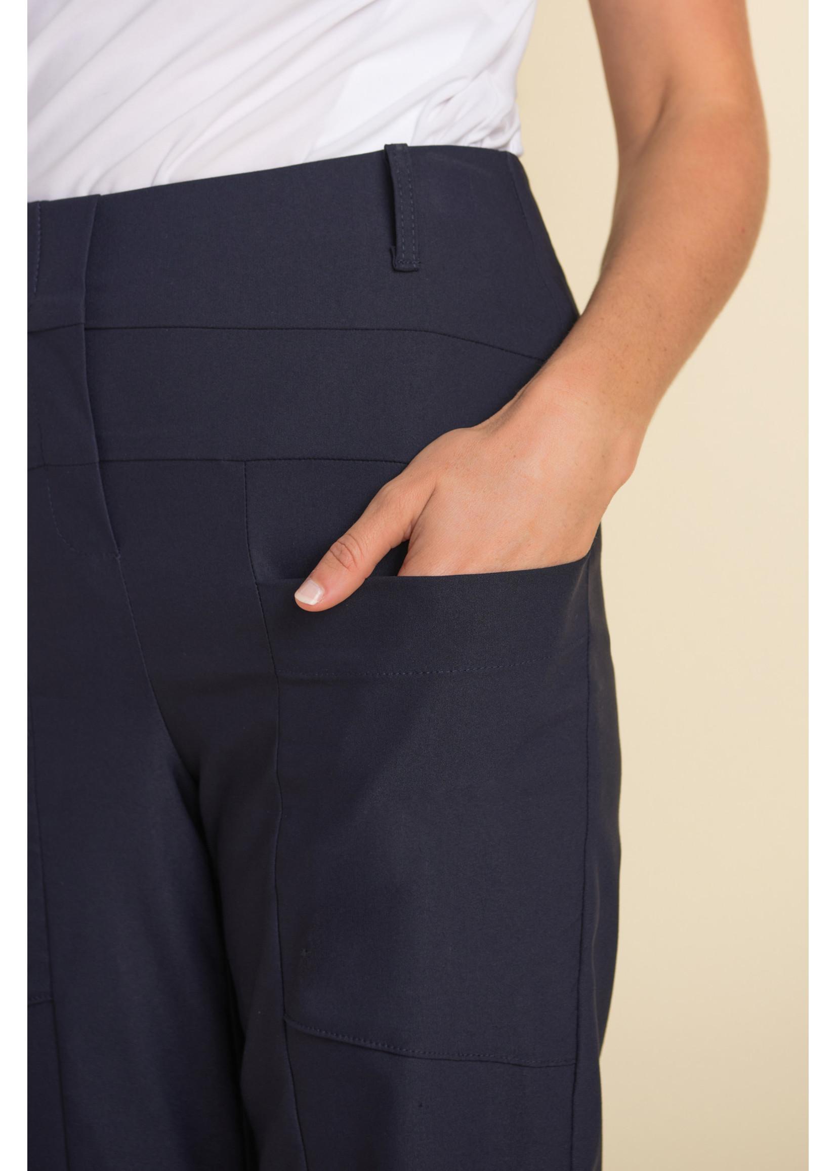 Joseph Ribkoff Navy Wide Leg Cropped Pant