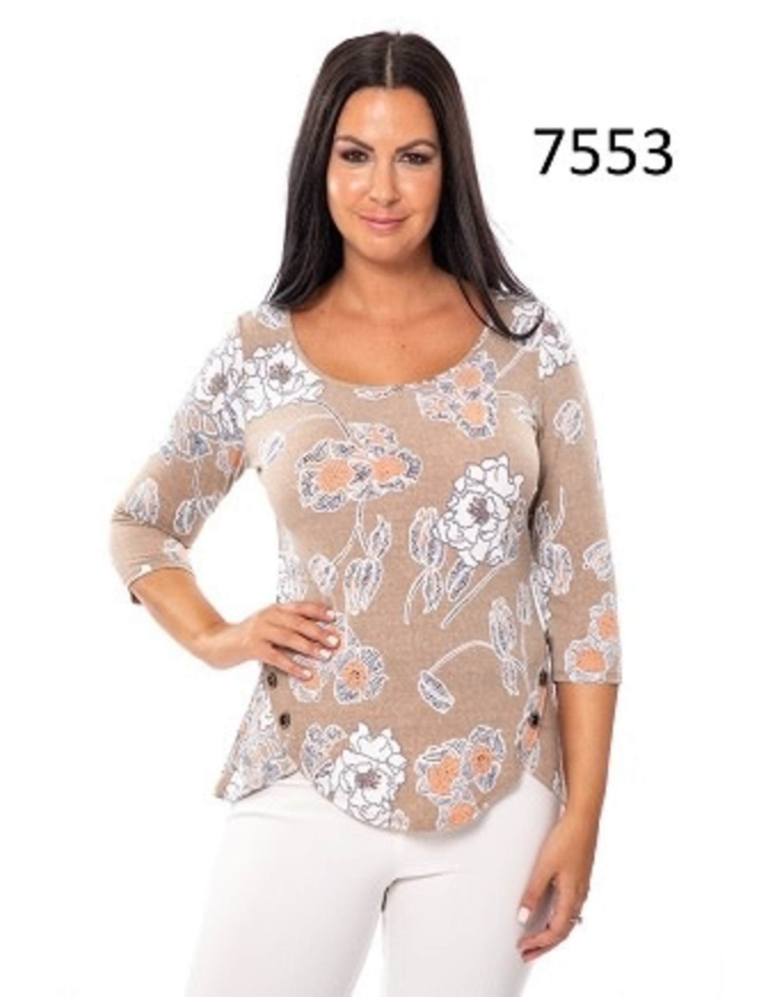 Bali Taupe & Apricot Top