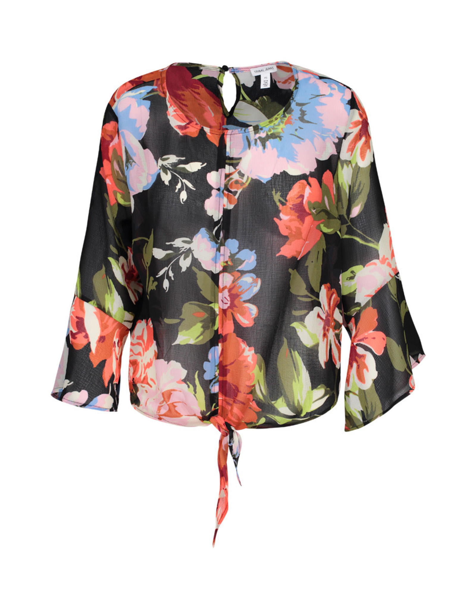 Tribal Bell Sleeve Blouse With Tie Front
