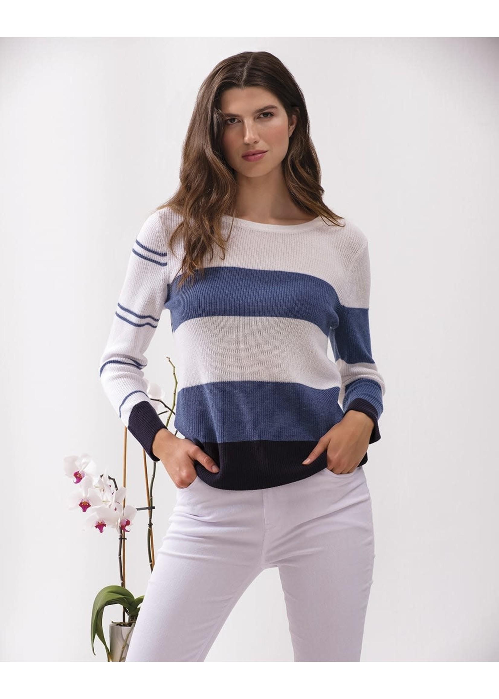 Alison Sheri White/Navy/Indigo Striped Sweater