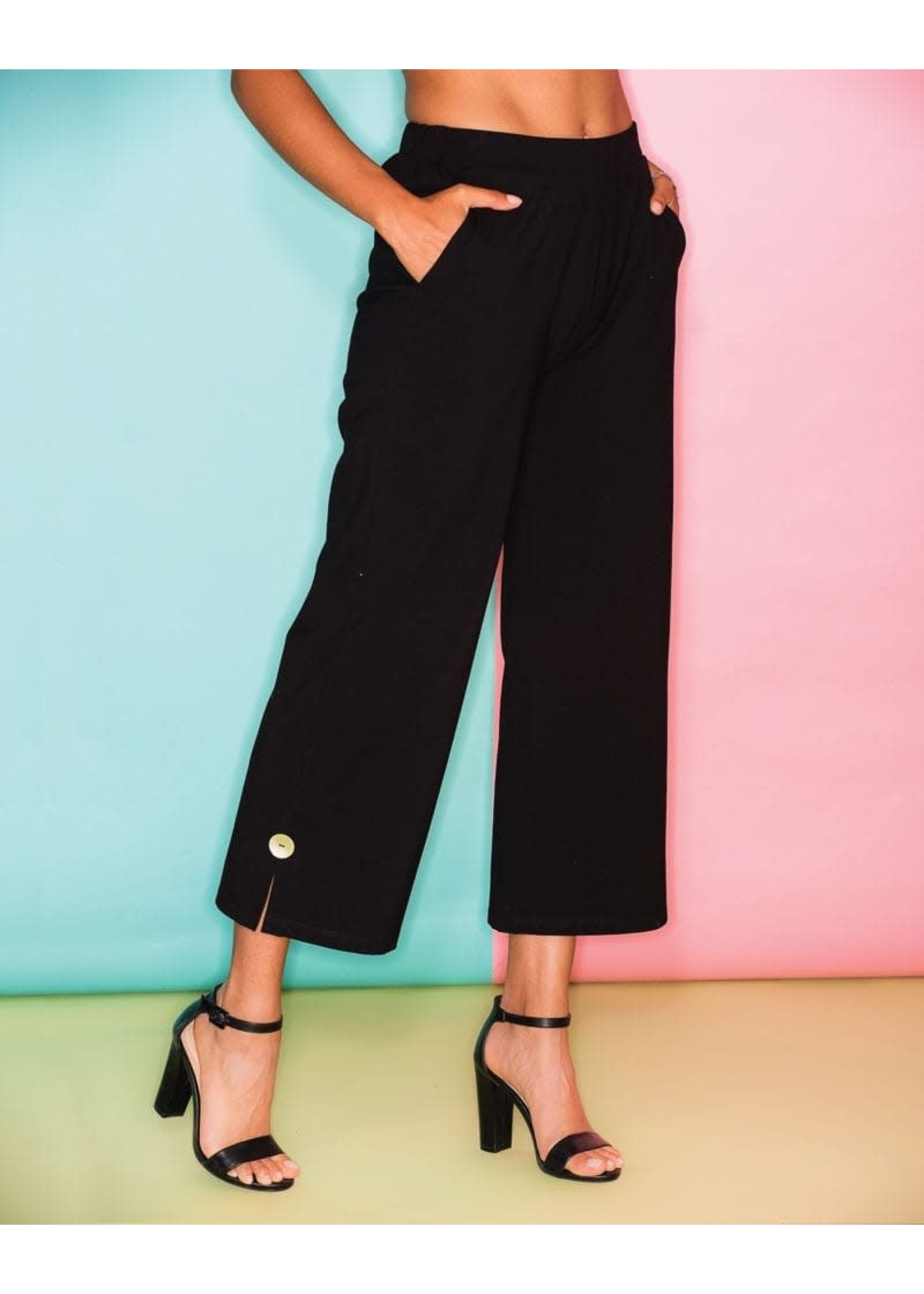 Elena Wang Black Knit Pant