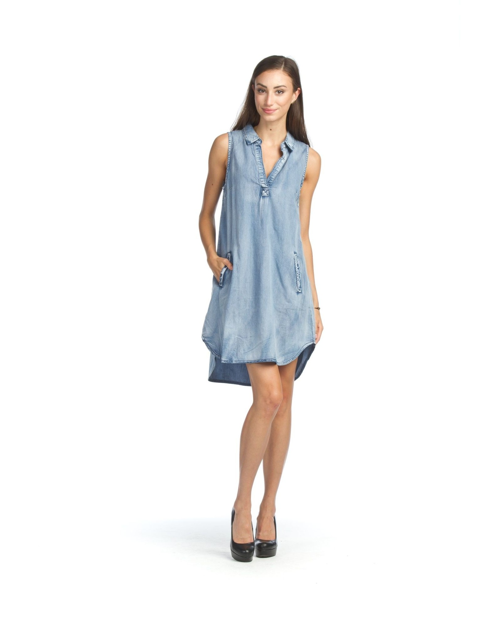 Papillon Denim Collared Shirt Hem Dress