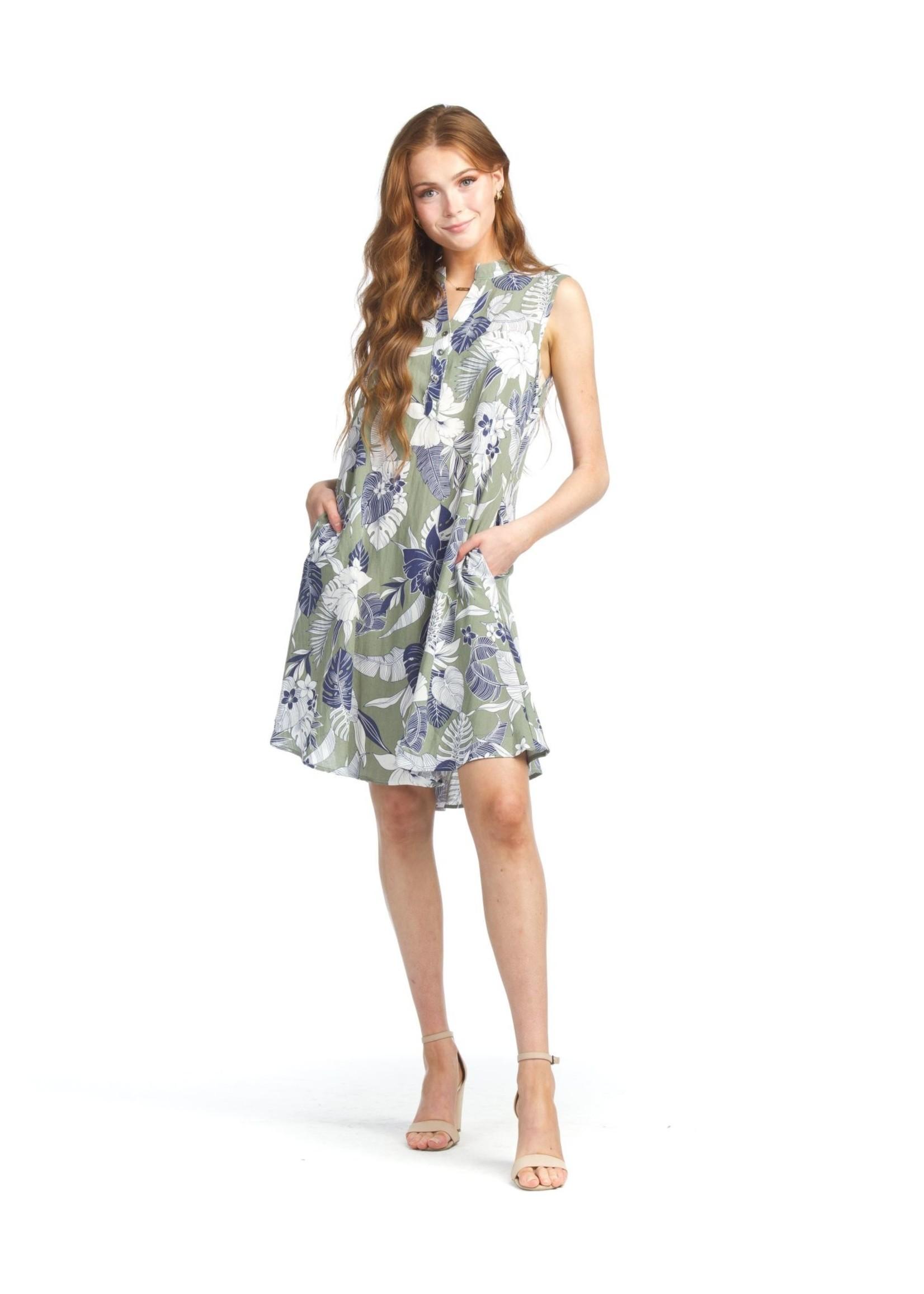 Papillon Floral & Leaf Print Henley Dress