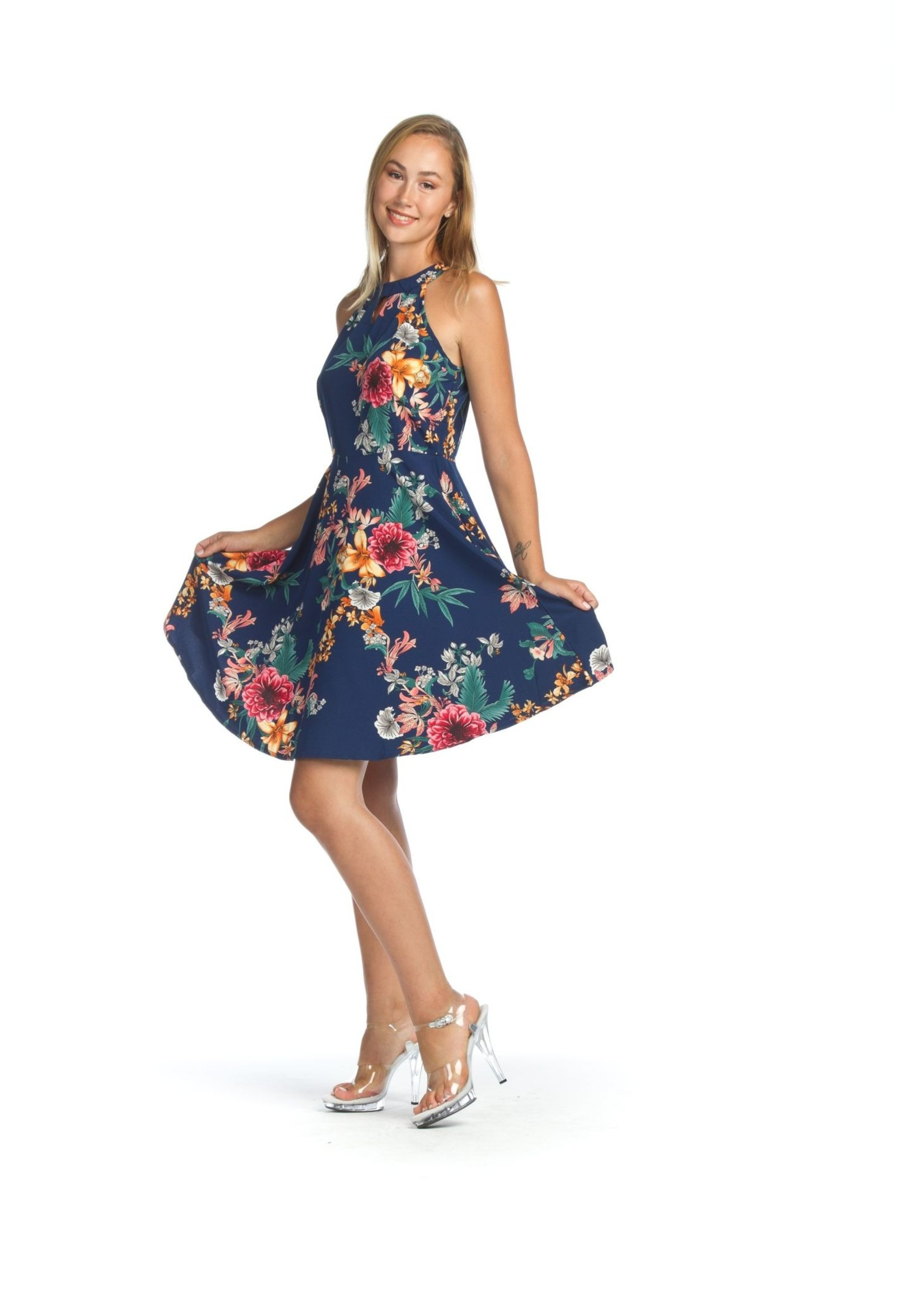 Papillon Floral Flared Dress With Side Zip