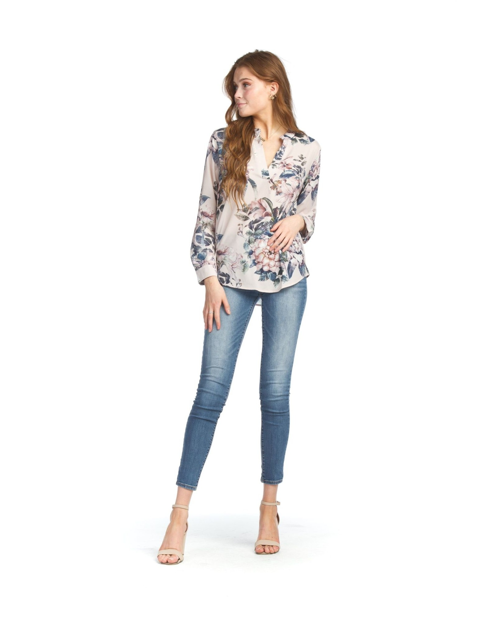 Papillon Garden Printed Blouse With Tab