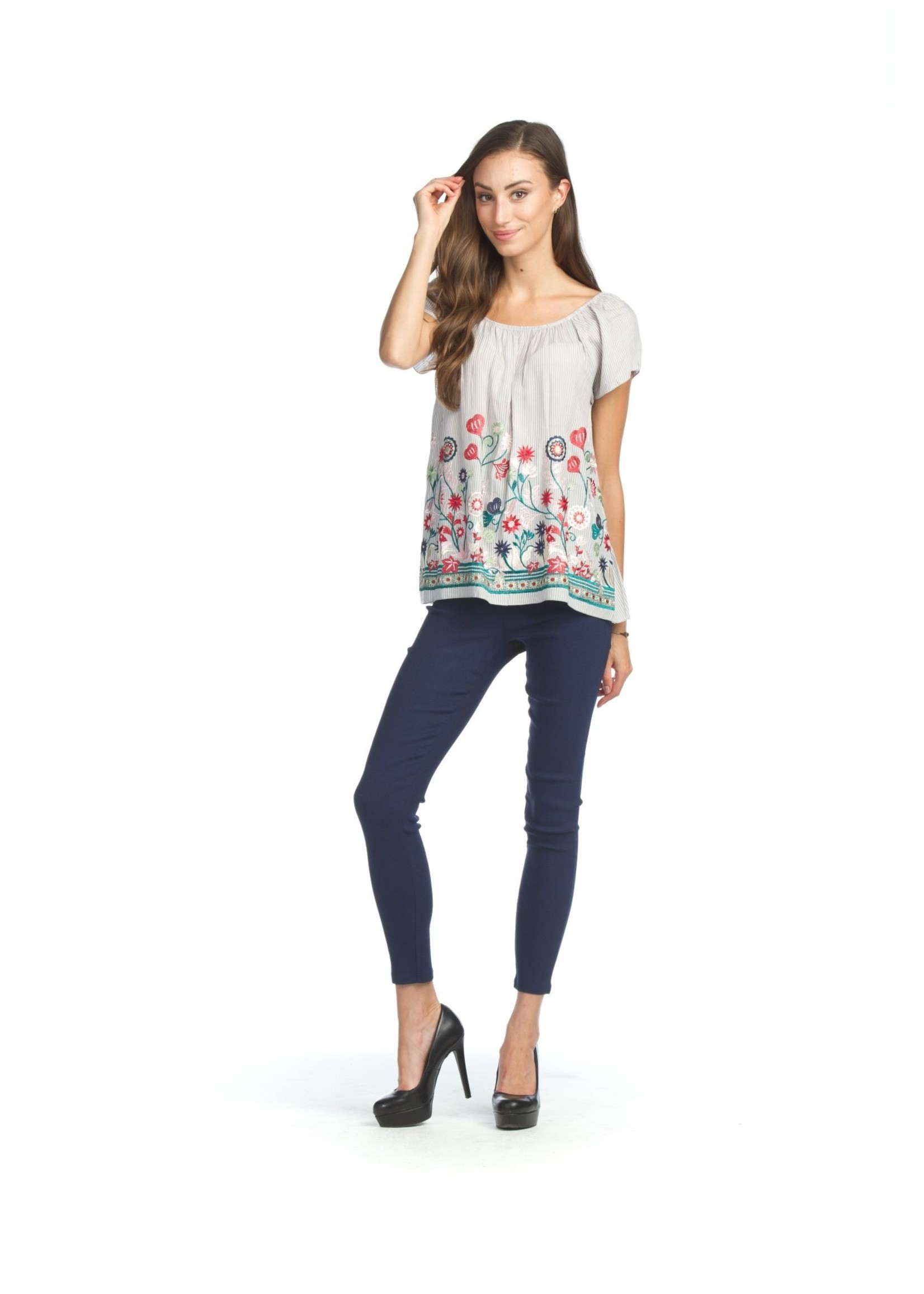 Papillon Stripe Blouse With Embroidery