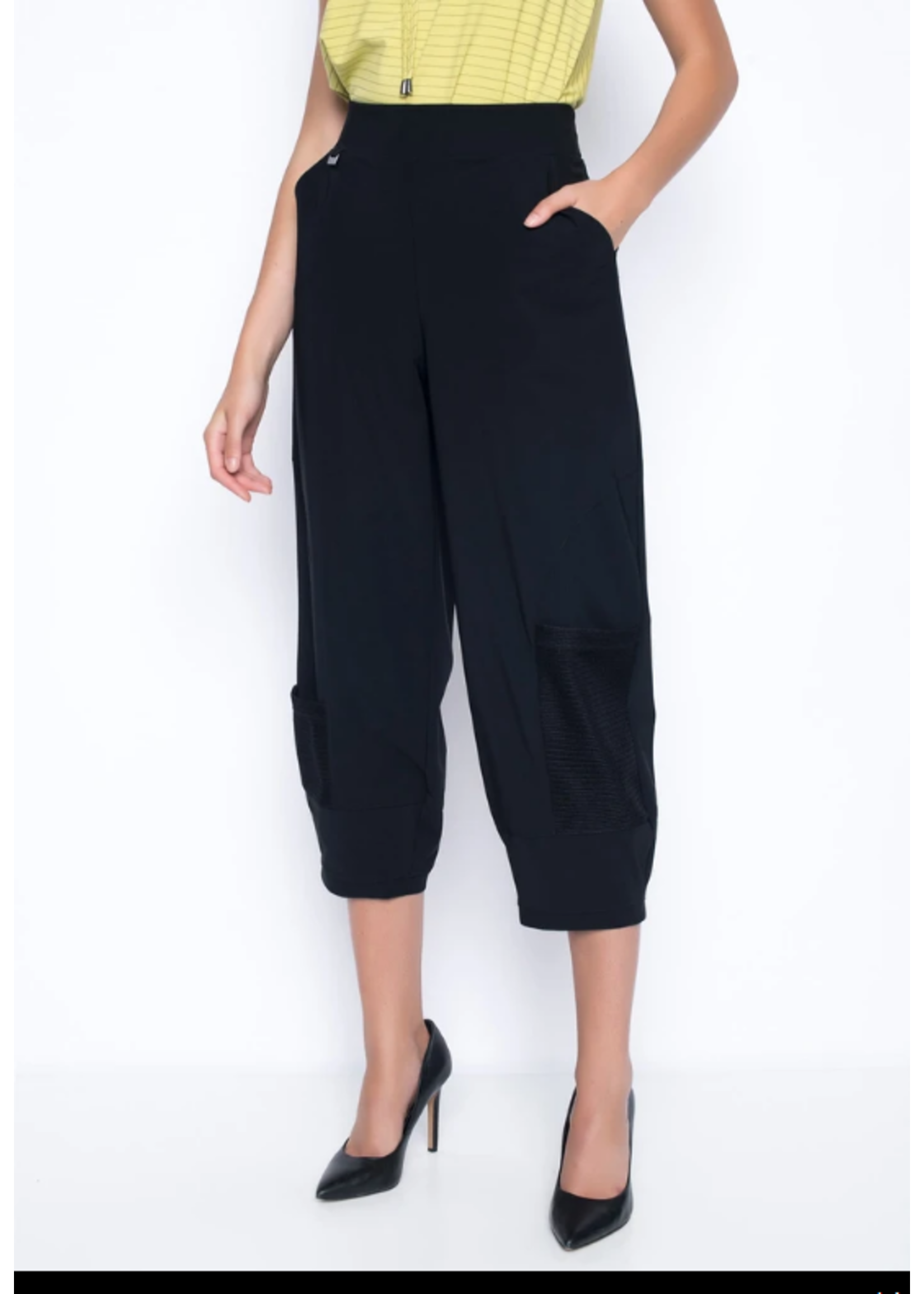 Picadilly Open Knit Trim Balloon Pants Black