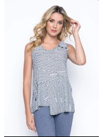 Picadilly Asymetrical Tank With Drawstring Navy/White