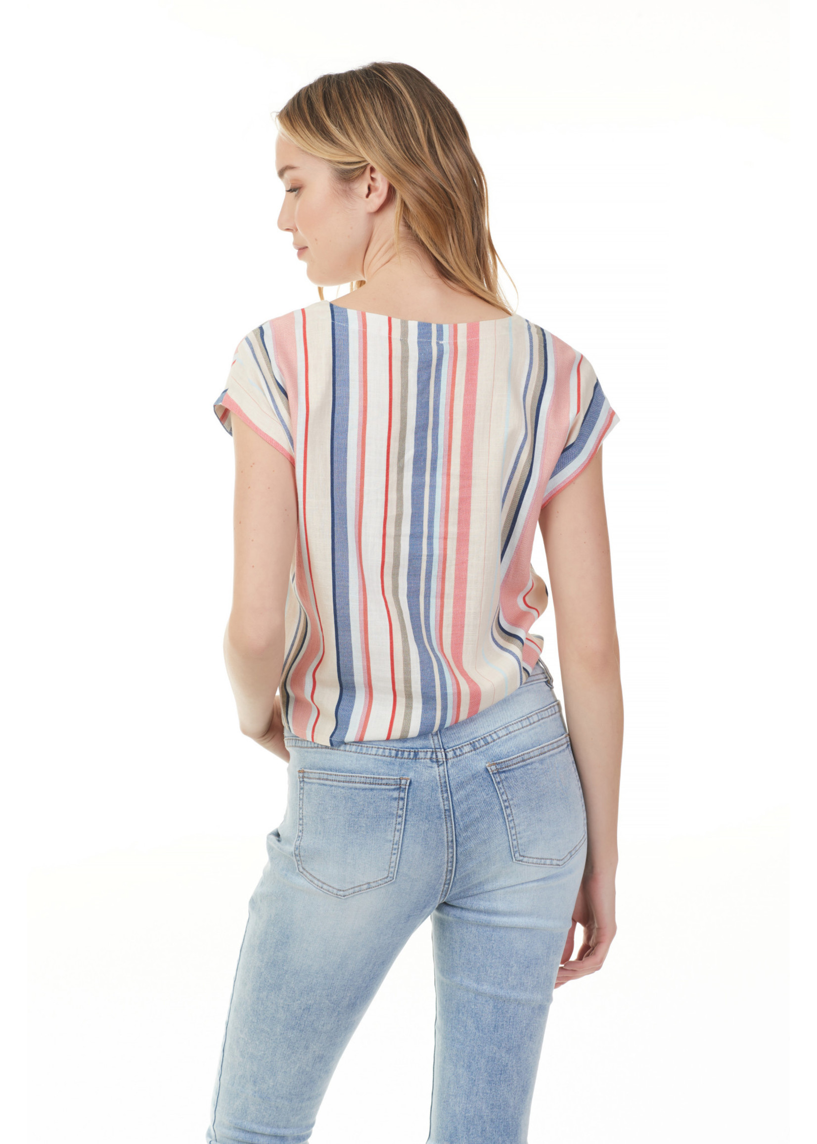 Charlie B Striped Printed Blouse With Knot