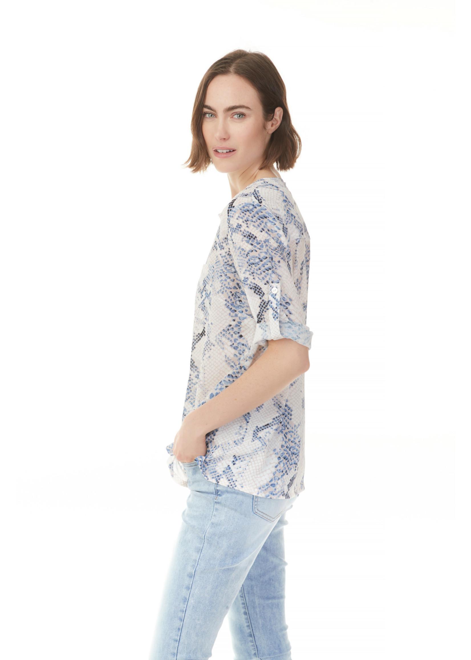Charlie B Crinkle Georgette Long Sleeve Pop-Over Shirt