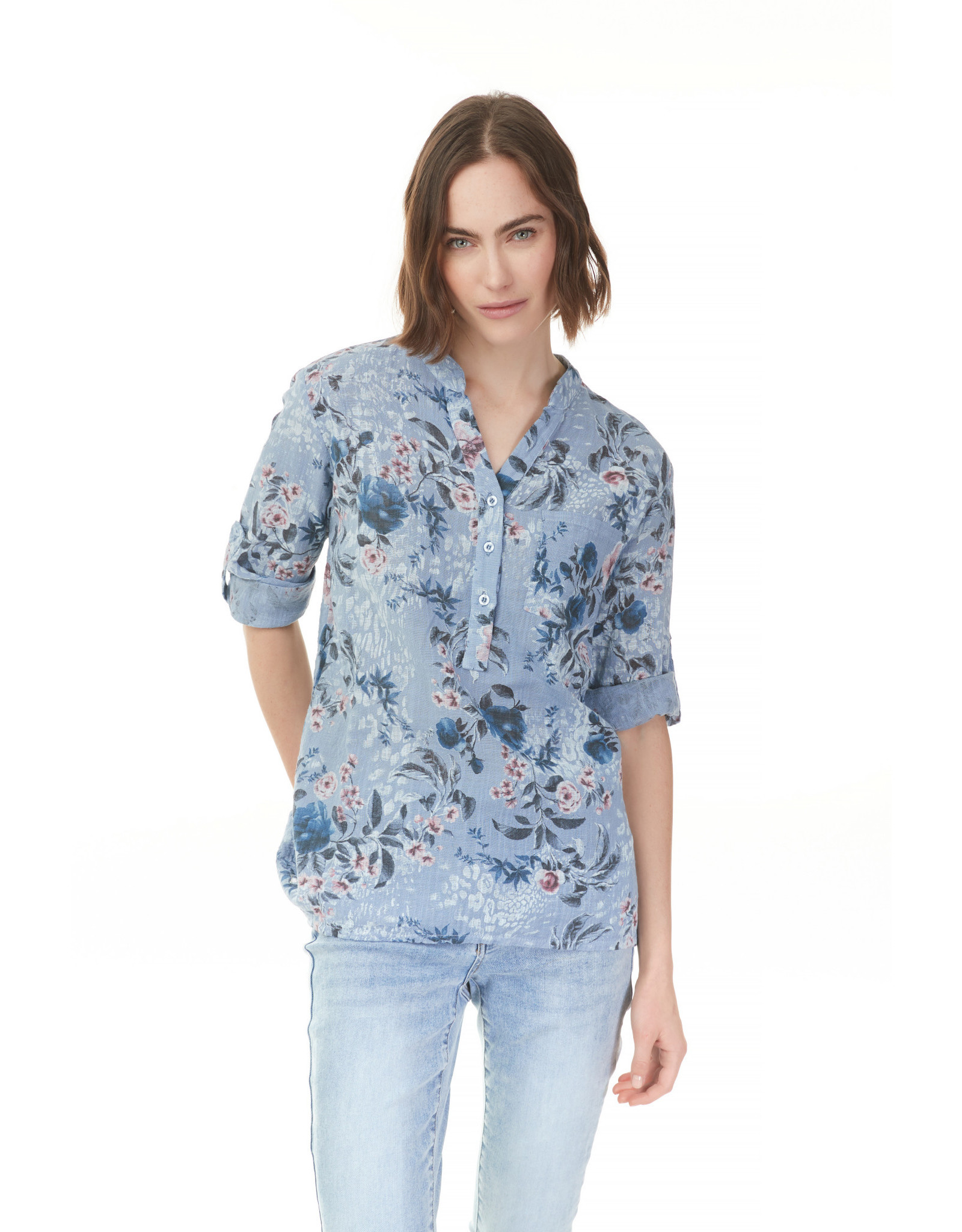 Charlie B Printed Rolled-Up Sleeve Cotton Gauze