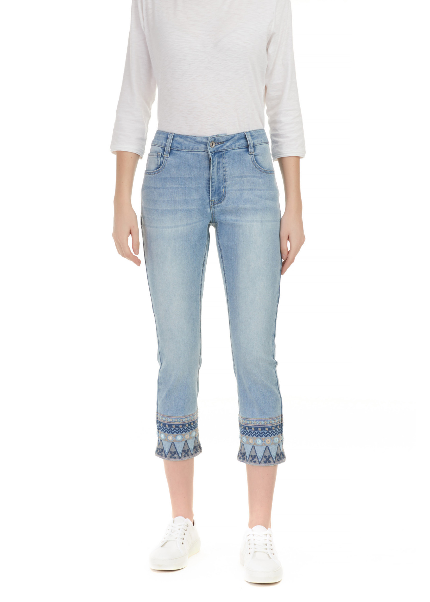 Charlie B Denim With Embroidery Detail At Leg