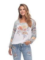 FDJ Pretty Print-Mix 7/8 Sleeve Blouse