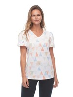 FDJ V-Neck Tulip Sleeve Triangular Print Top