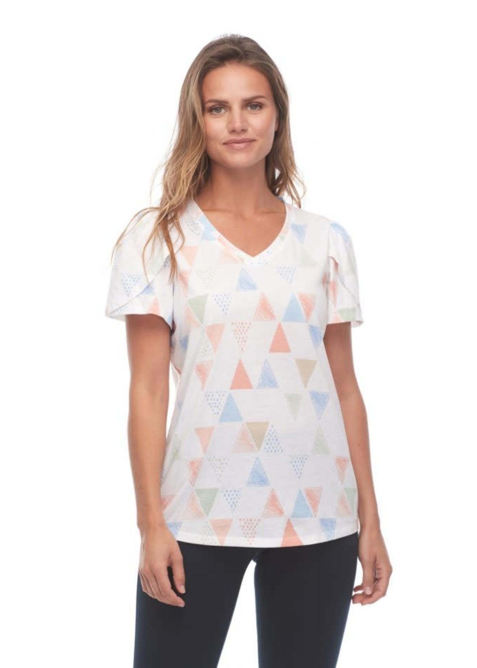 FDJ V-Neck Tulip Sleeve Triangular Print Top