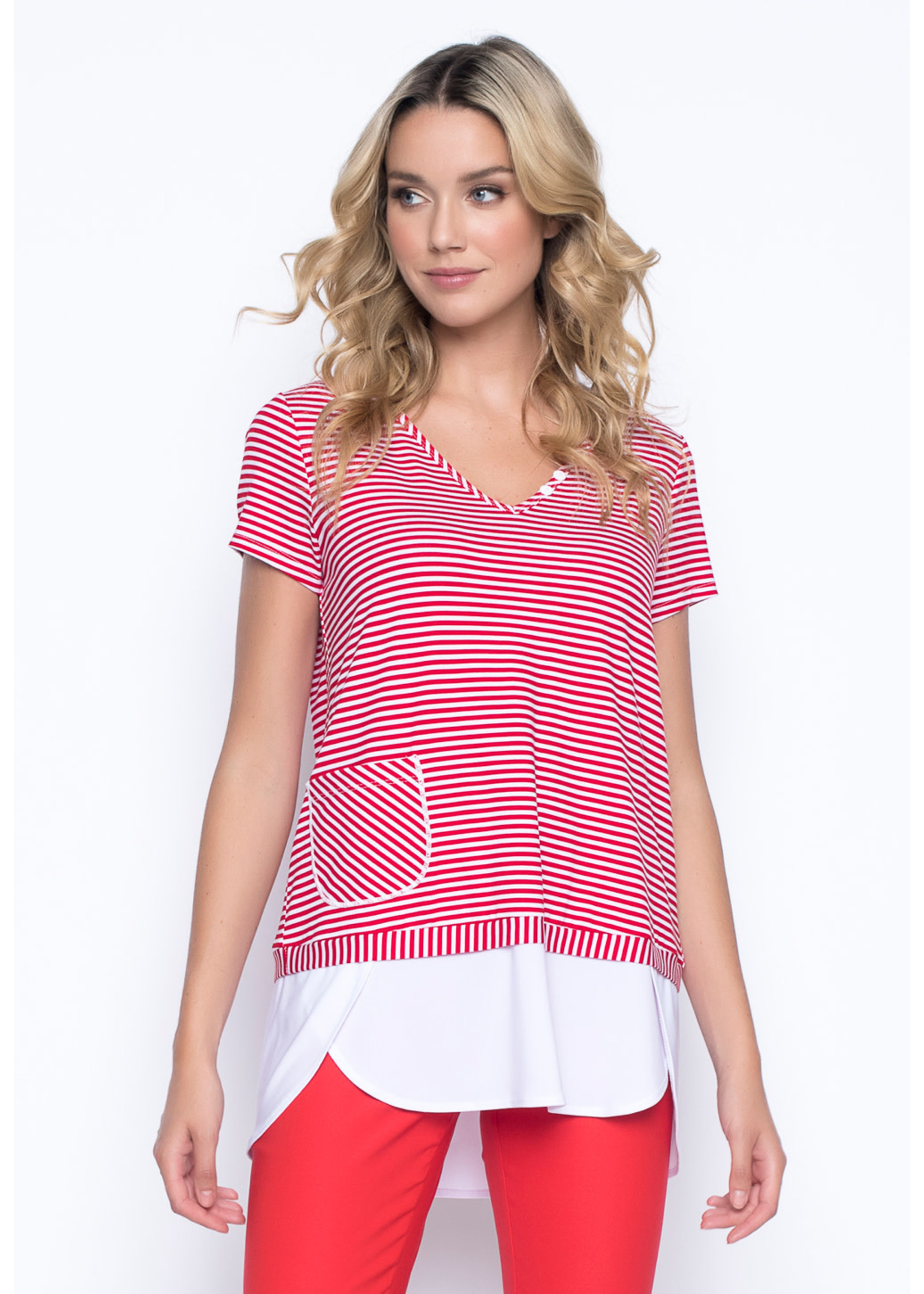 Picadilly Faux Layered V-Neck Top