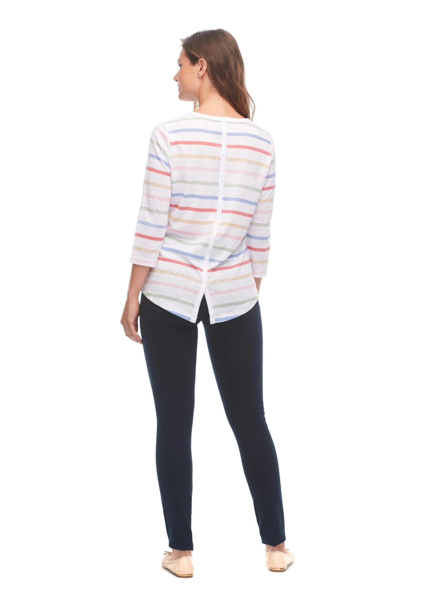 FDJ Colorful Stripe Top With Button Detail