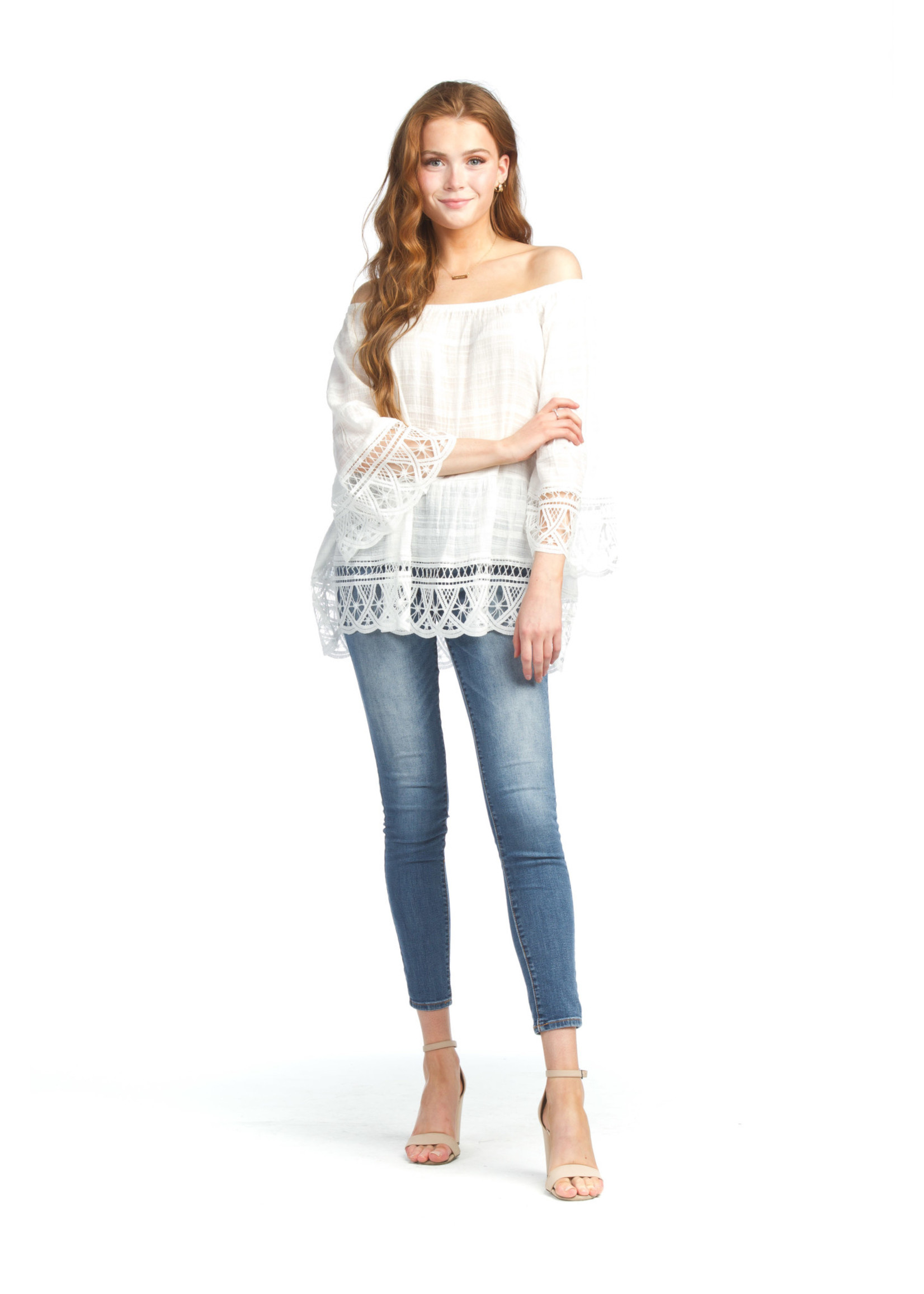 Papillon Flowy White Tunic With Eyelet Trim