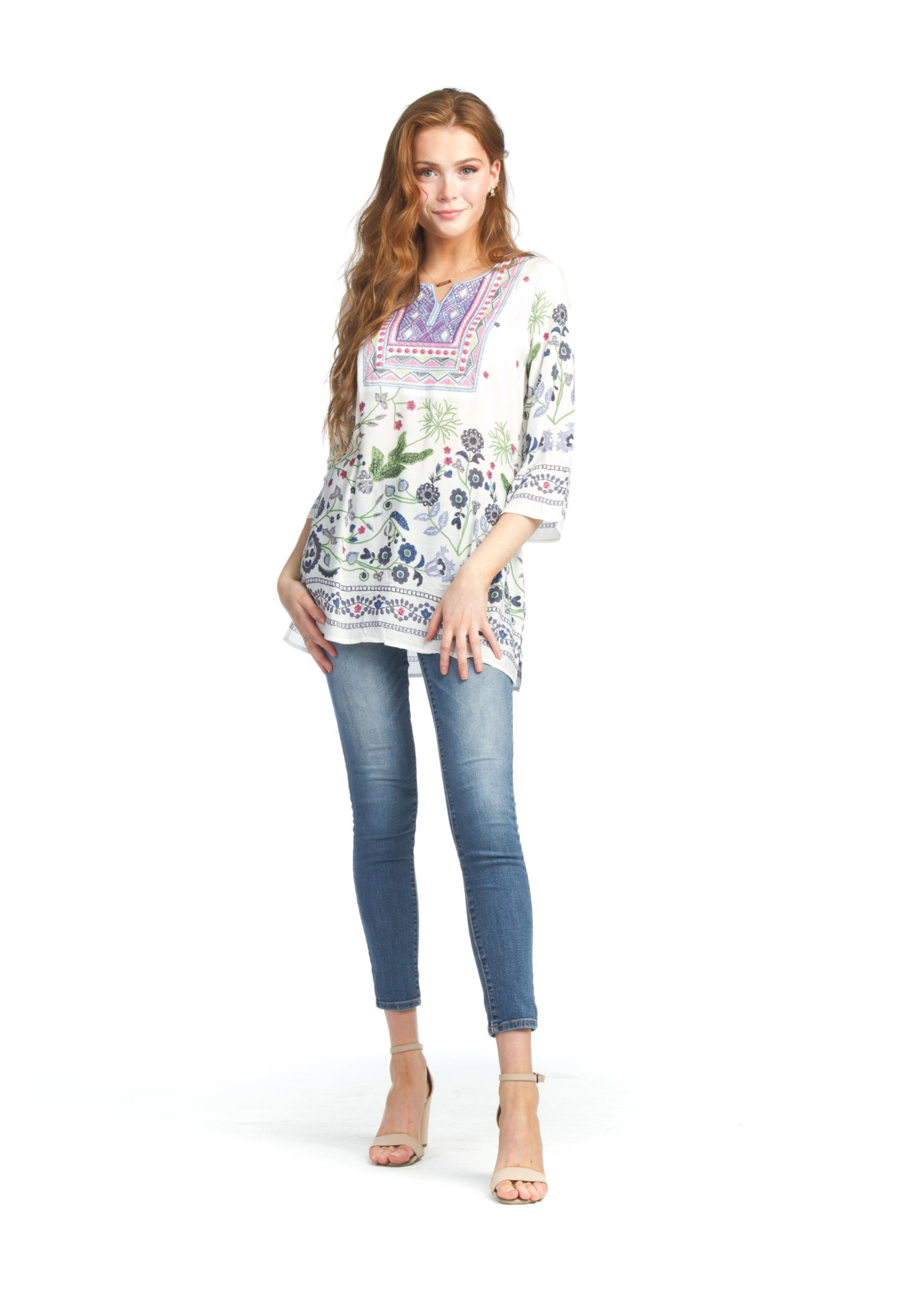 Papillon Embroidered Blouse With Floral Design
