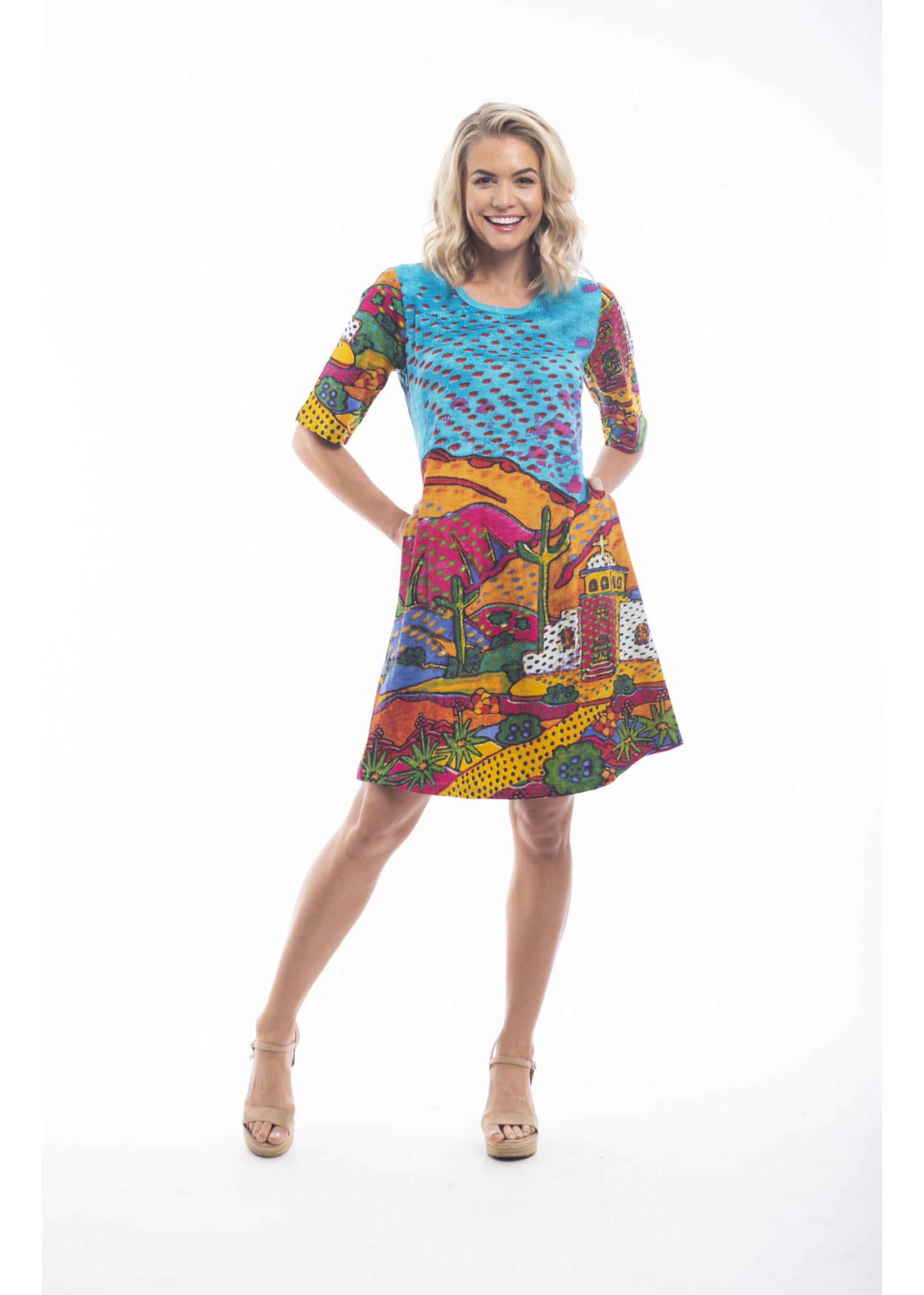 Orientique Dress Mexico Print