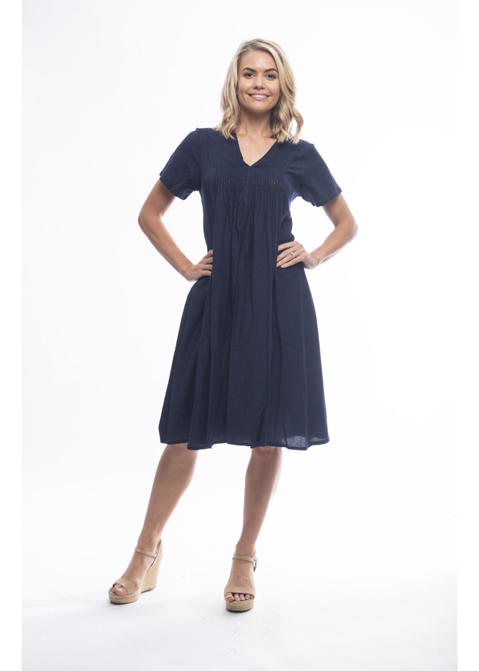 Orientique Navy V-Neck Linen Dress