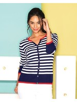 Elena Wang Navy & White Stripe Cardigan