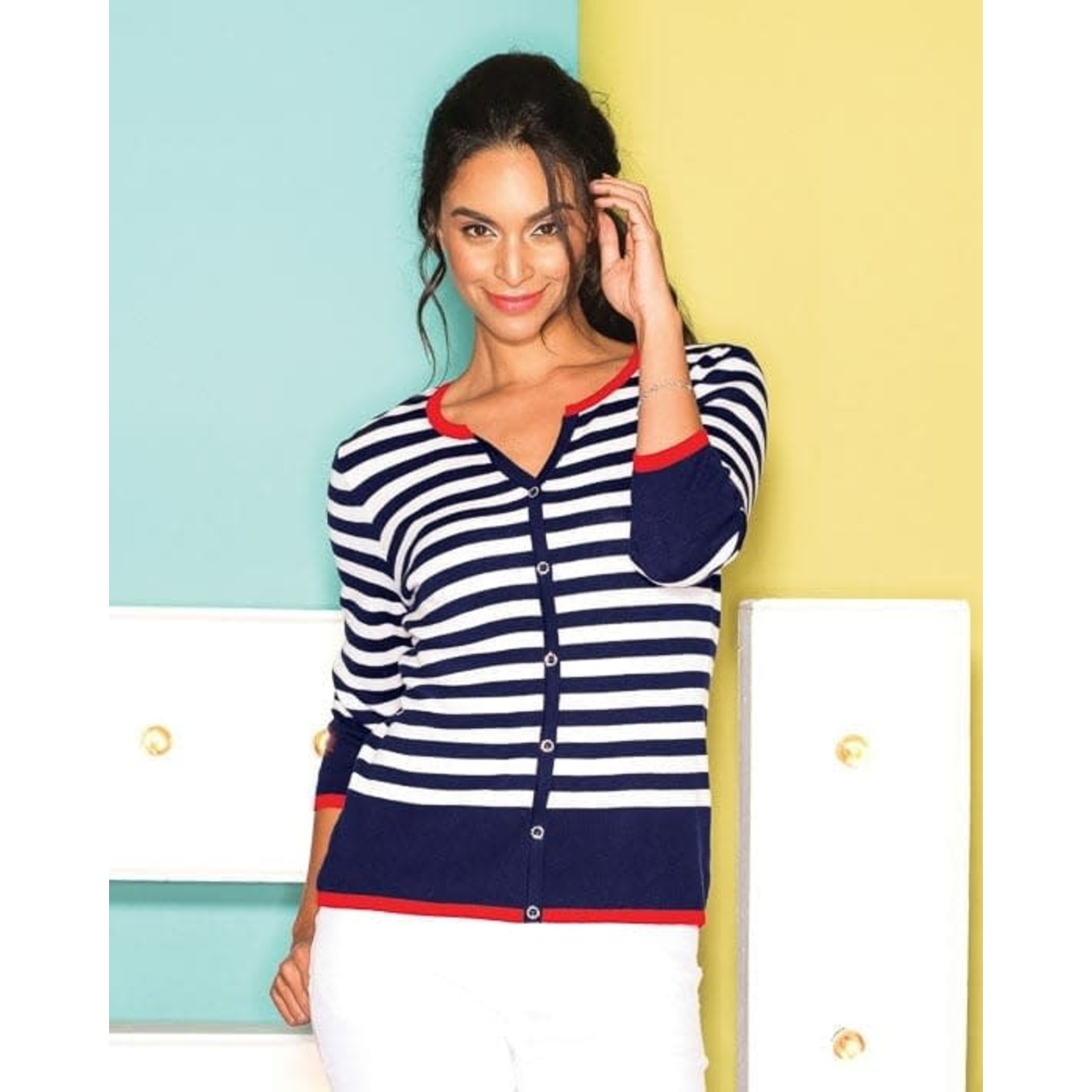 Elena Wang Navy & White Stripe Cardigan