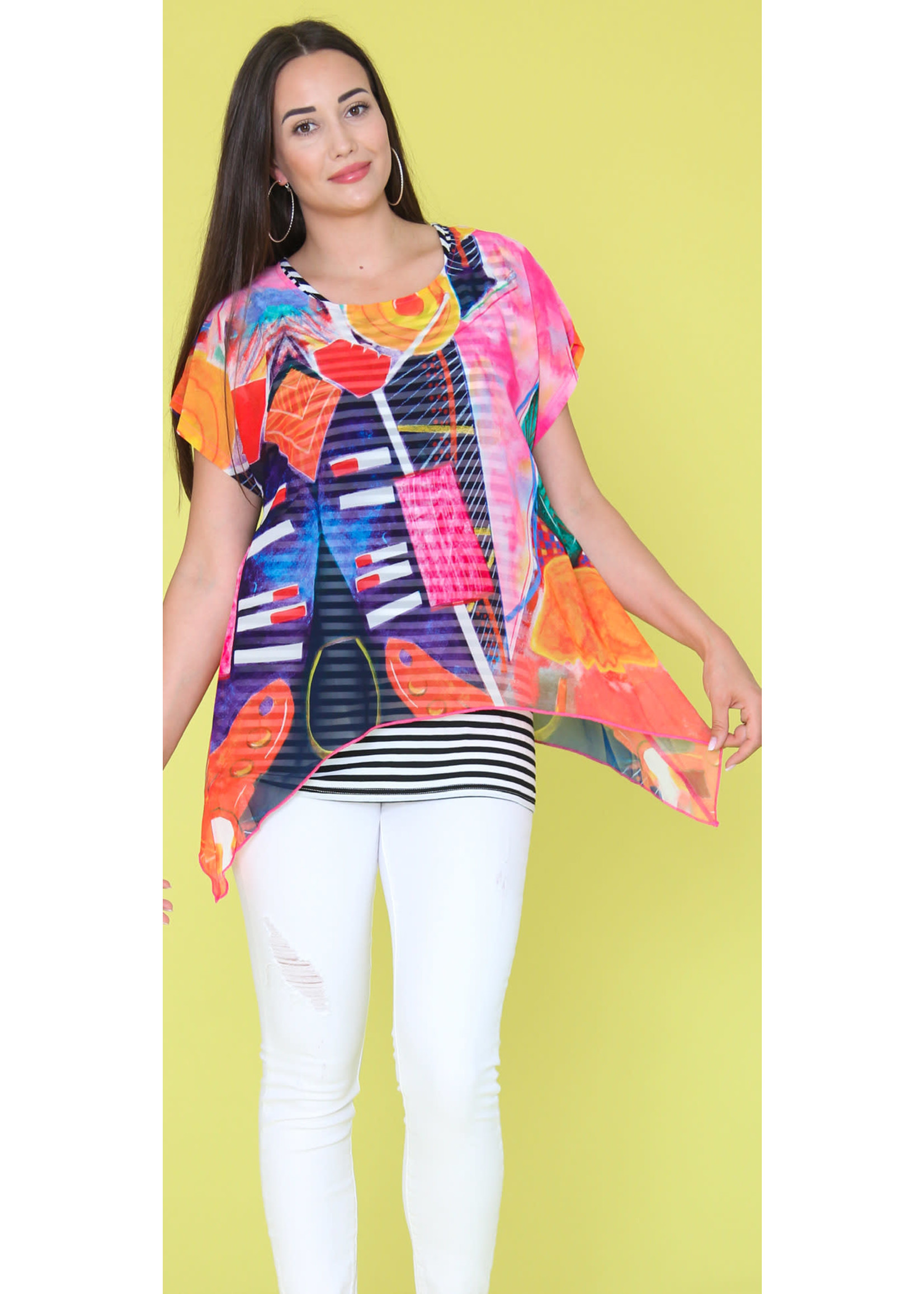 Funsport Knit Top With Striped Camisole