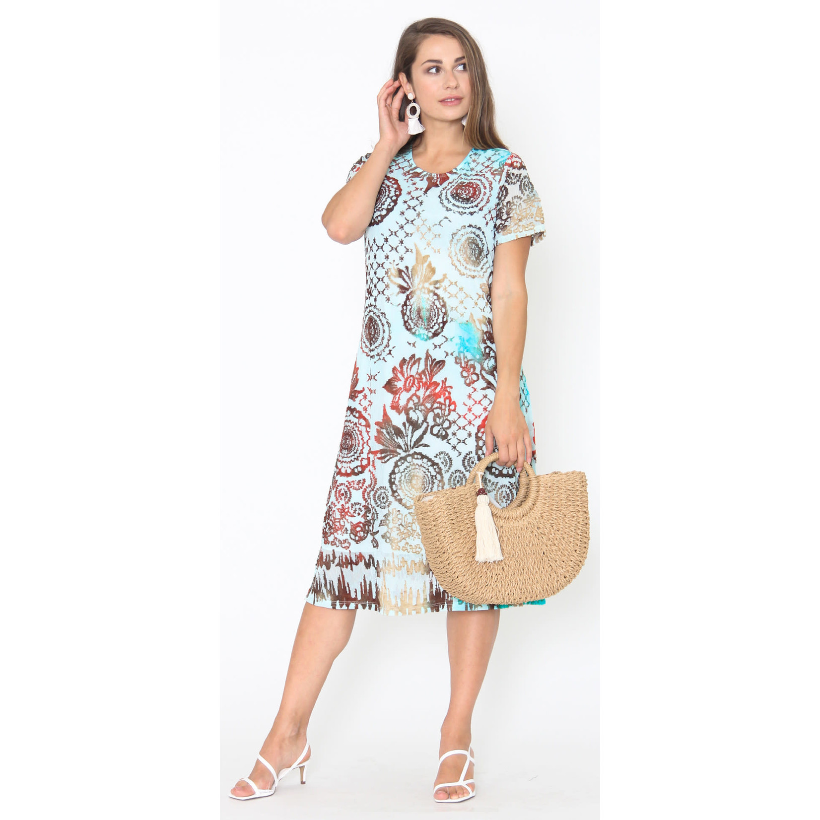 Captiva Turquoise Printed Dress With Sleeves